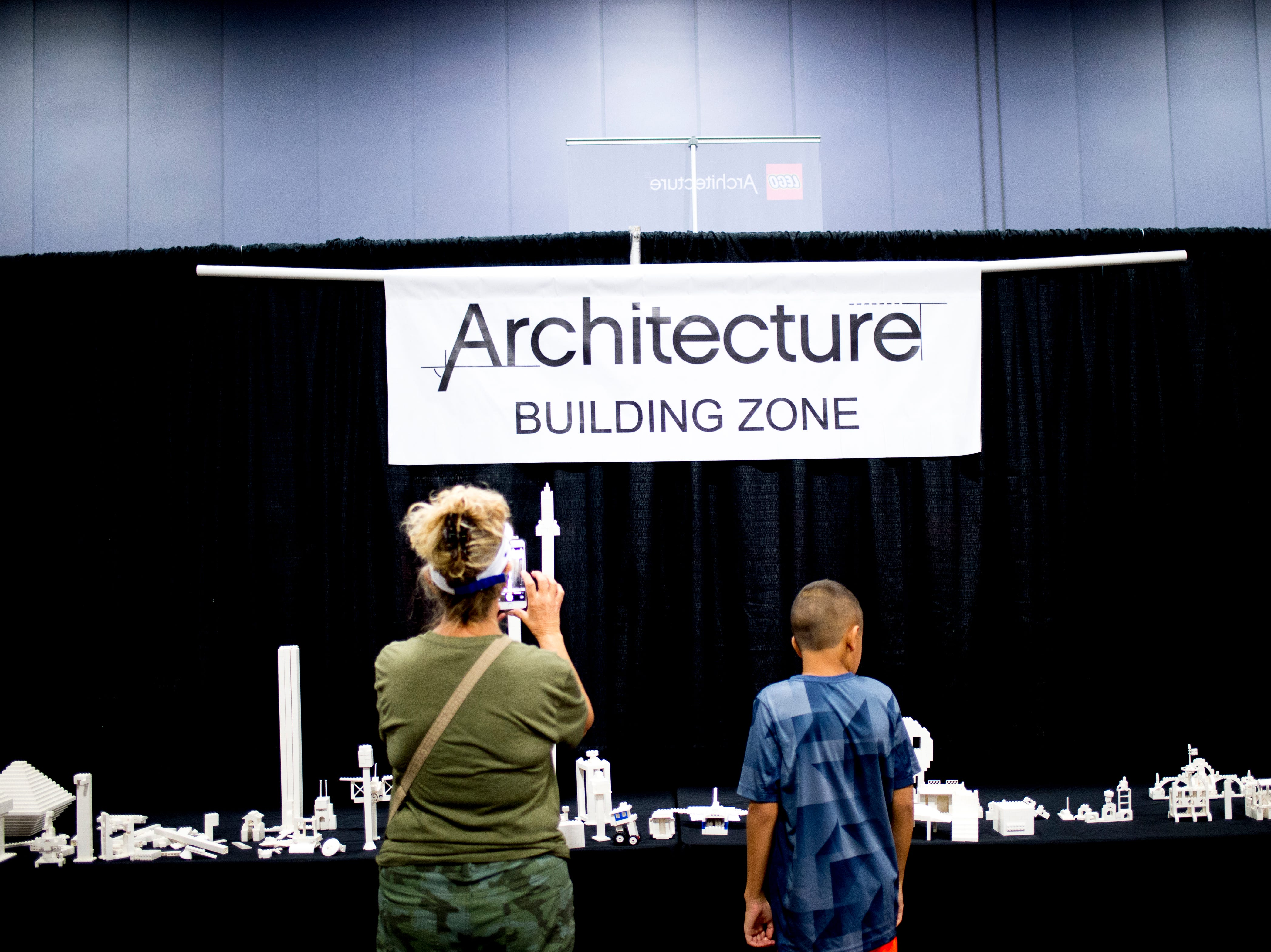 "The ""Architecture Building Zone"" at the BrickUniverse Knoxville LEGO Fan Expo in the Knoxville Convention Center in Knoxville, Tennessee on Saturday, August 25, 2018. Life-sized LEGO displays, over 40 world landmarks build to-scale from LEGO as well as castles, trains, and cities and other creations were on display."