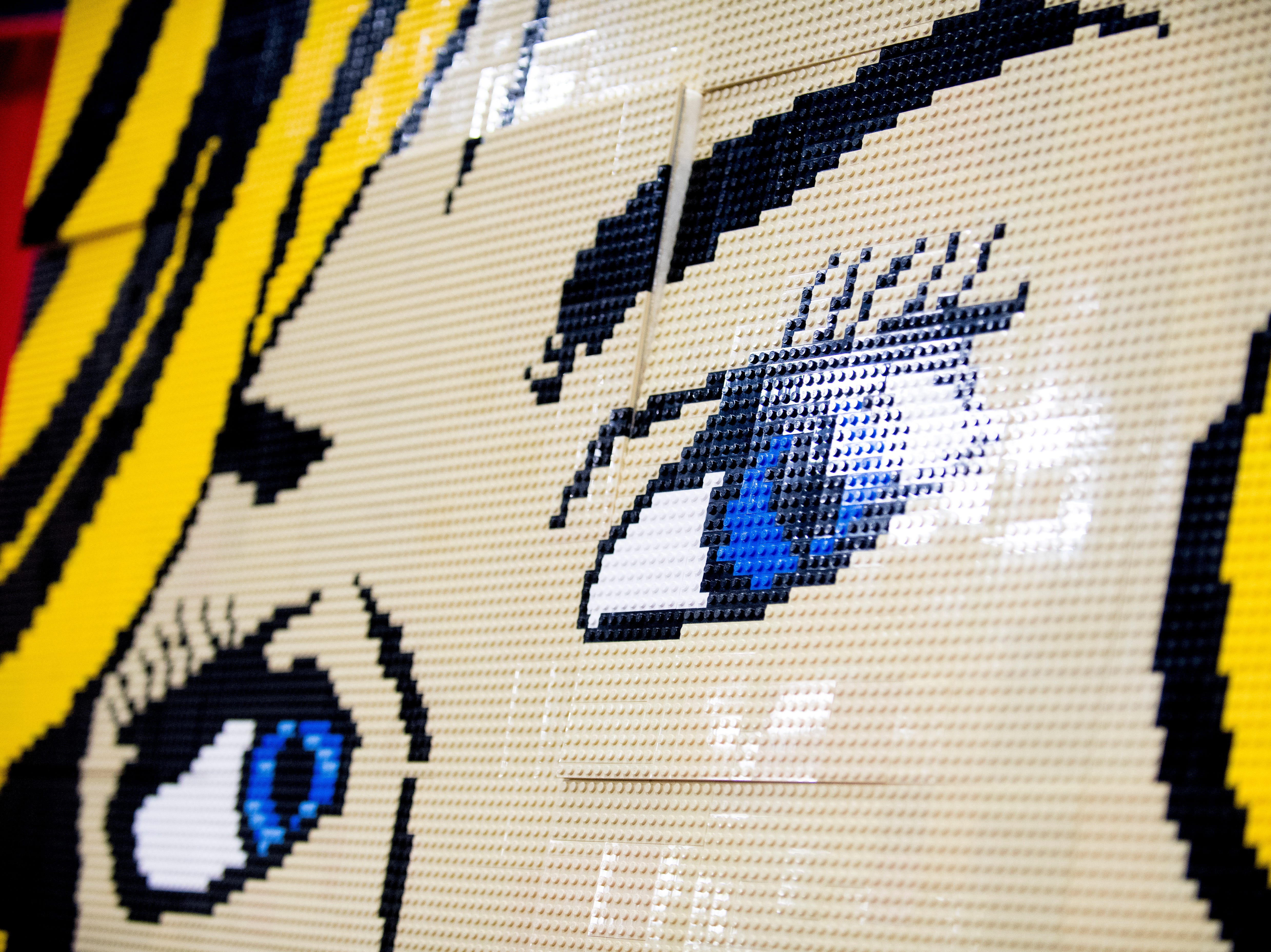 Artwork made of Legos is displayed at the BrickUniverse Knoxville LEGO Fan Expo in the Knoxville Convention Center in Knoxville, Tennessee on Saturday, August 25, 2018. Life-sized LEGO displays, over 40 world landmarks build to-scale from LEGO as well as castles, trains, and cities and other creations were on display.