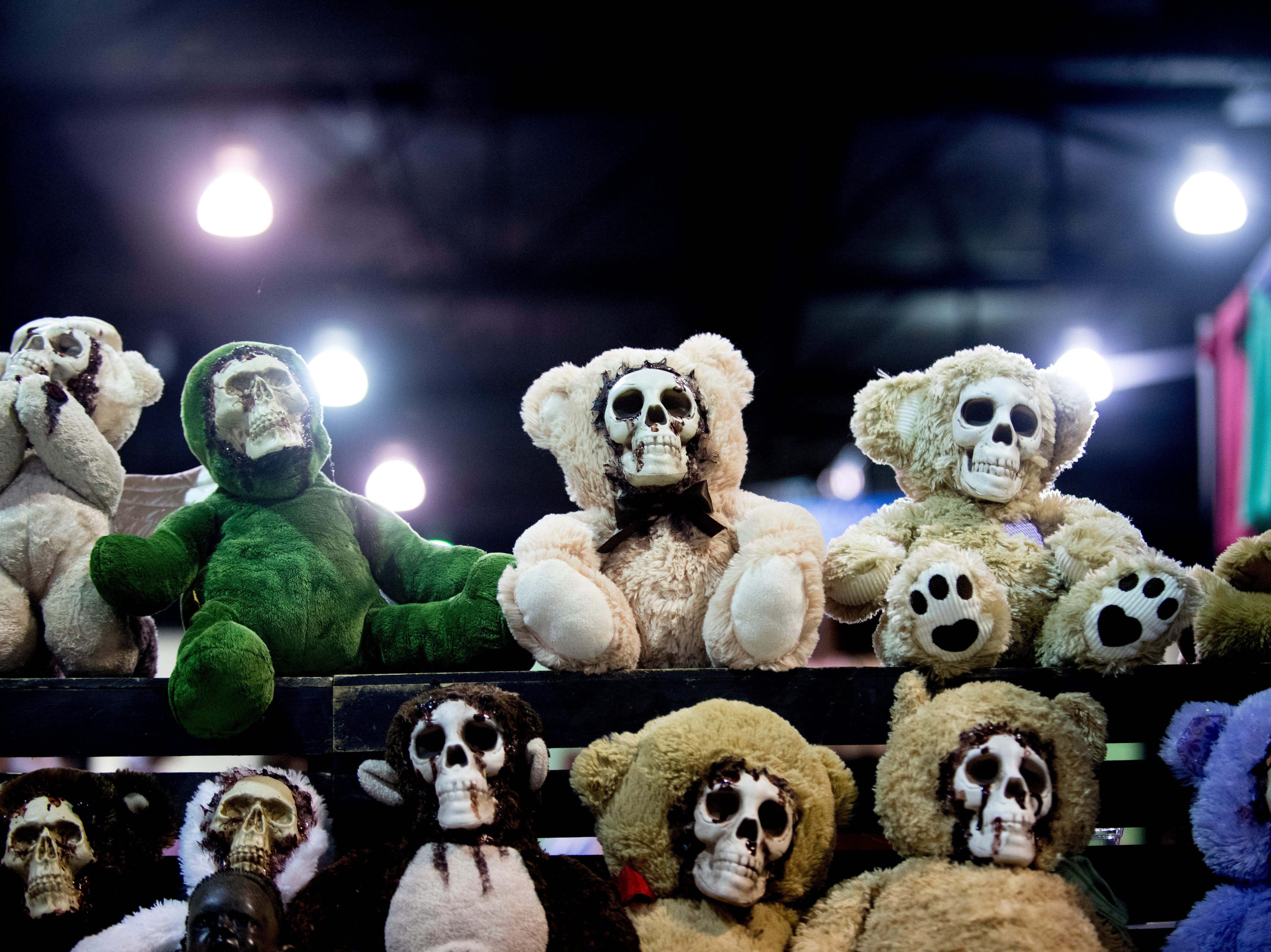 Not too cuddly looking stuffed teddy bears by Creature Seeker Studios are seen for sale during the annual Knoxville CreepyCon at the World's Fair Exhibition Hall in Knoxville, Tennessee on Saturday, August 25, 2018. The event featured performers, a zombie beauty contest, workshops and a wide selection of vendors.