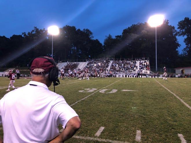 Oak Ridge head football coach Joe Gaddis watches a play during the Wildcats' 41-12 win over Dobyns-Bennett on Friday, Aug. 24, 2018.