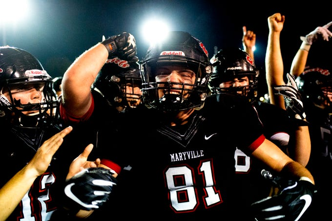 Maryville's Brody Sloan (81) leads the victory celebration during a football game between Maryville and Oakland at Maryville High School in Maryville, Tennessee on Friday, August 24, 2018.