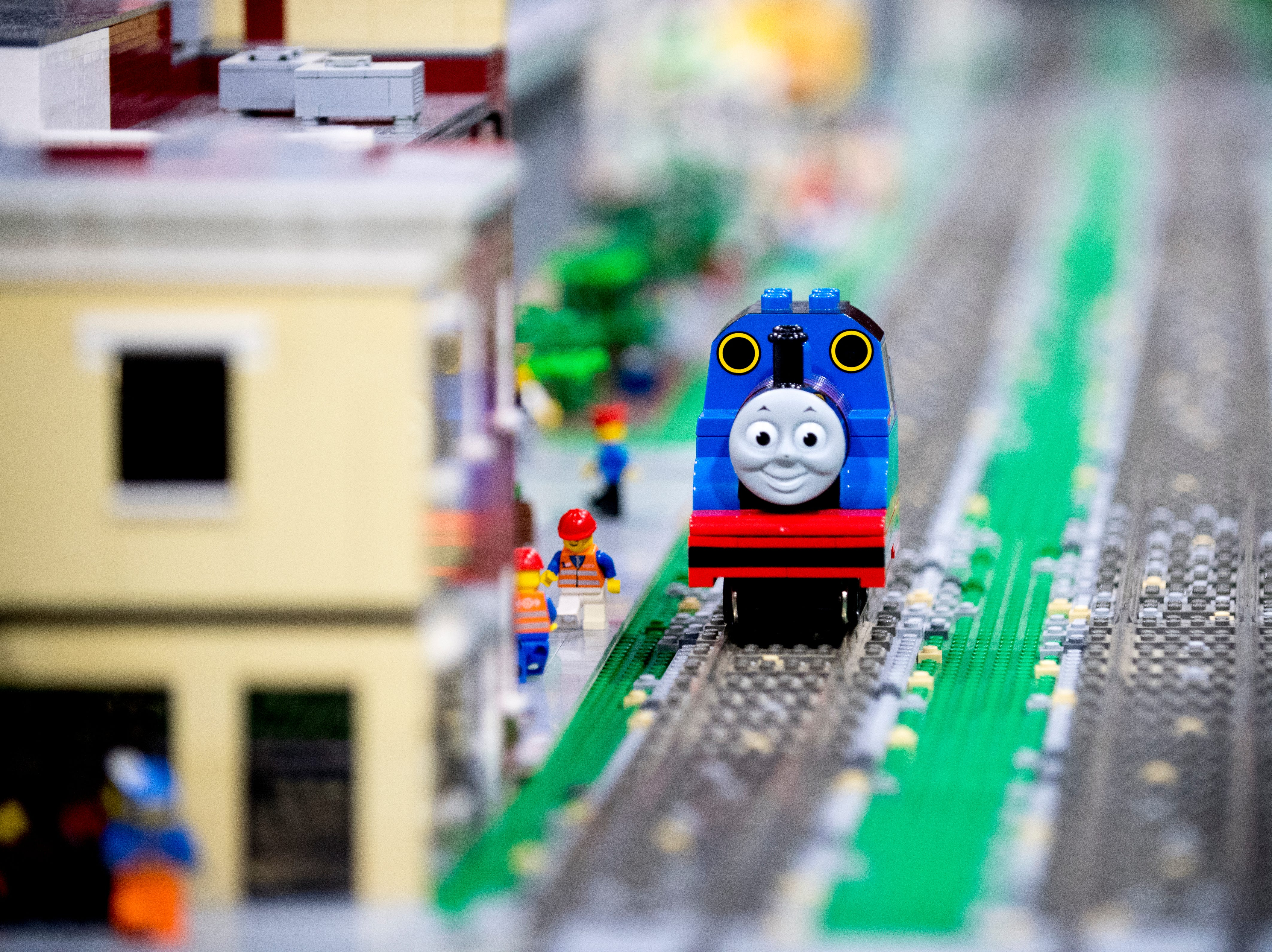 Thomas the Tank Engine rolls down a track at the BrickUniverse Knoxville LEGO Fan Expo in the Knoxville Convention Center in Knoxville, Tennessee on Saturday, August 25, 2018. Life-sized LEGO displays, over 40 world landmarks build to-scale from LEGO as well as castles, trains, and cities and other creations were on display.