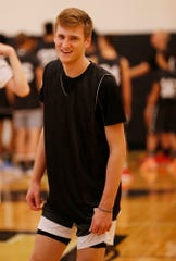 Luke Kasubke of Chaminade College Preparatory High School with a shot at the Purdue Elite Basketball Camp Saturday, August 25, 2018, at the France A. Cordova Recreational Sports Center.