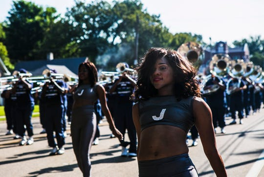 September 9, 2017 - Jackson State University's marching band performs during the Southern Heritage Classic parade on Park Ave. in Orange Mound on Saturday. The event, hosted by the Orange Mound Parade Committee, featured high school and college marching bands, school and civic organizations, local politicians and businesses. (Yalonda M. James/The Commercial Appeal)