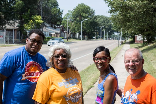 August 25 2018 - From left, Derrick Jointer, Claudette Boyd, Mimi Fifer and Don Gilbert stand along Park Avenue where the volunteer organized Southern Heritage Classic parade in Orange Mound takes place.