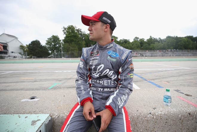 Ty Majeski waits to qualify for the Xfinity Series Johnsonville 180 on Saturday at Road America.