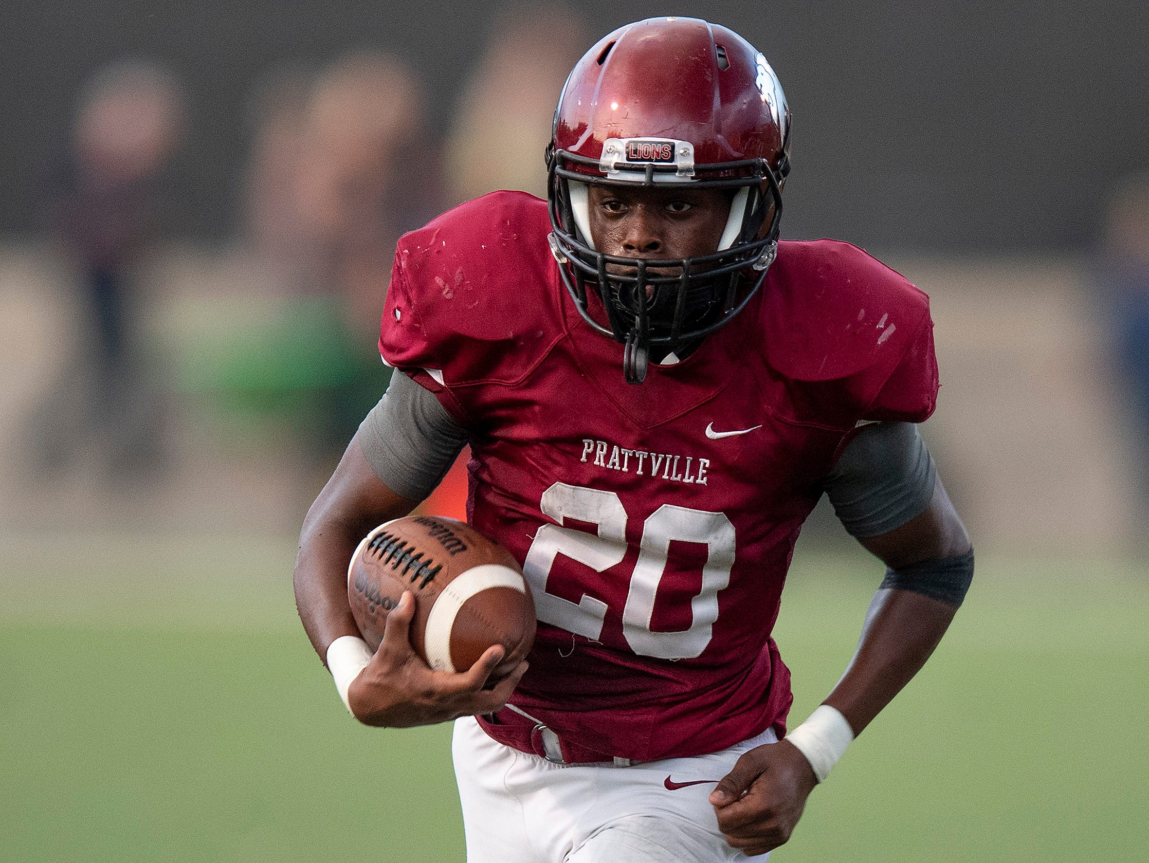 Prattville's Keandre Powell carries against Foley at Stanley-Jensen Stadium in Prattville, Ala., on Friday August 24, 2018.