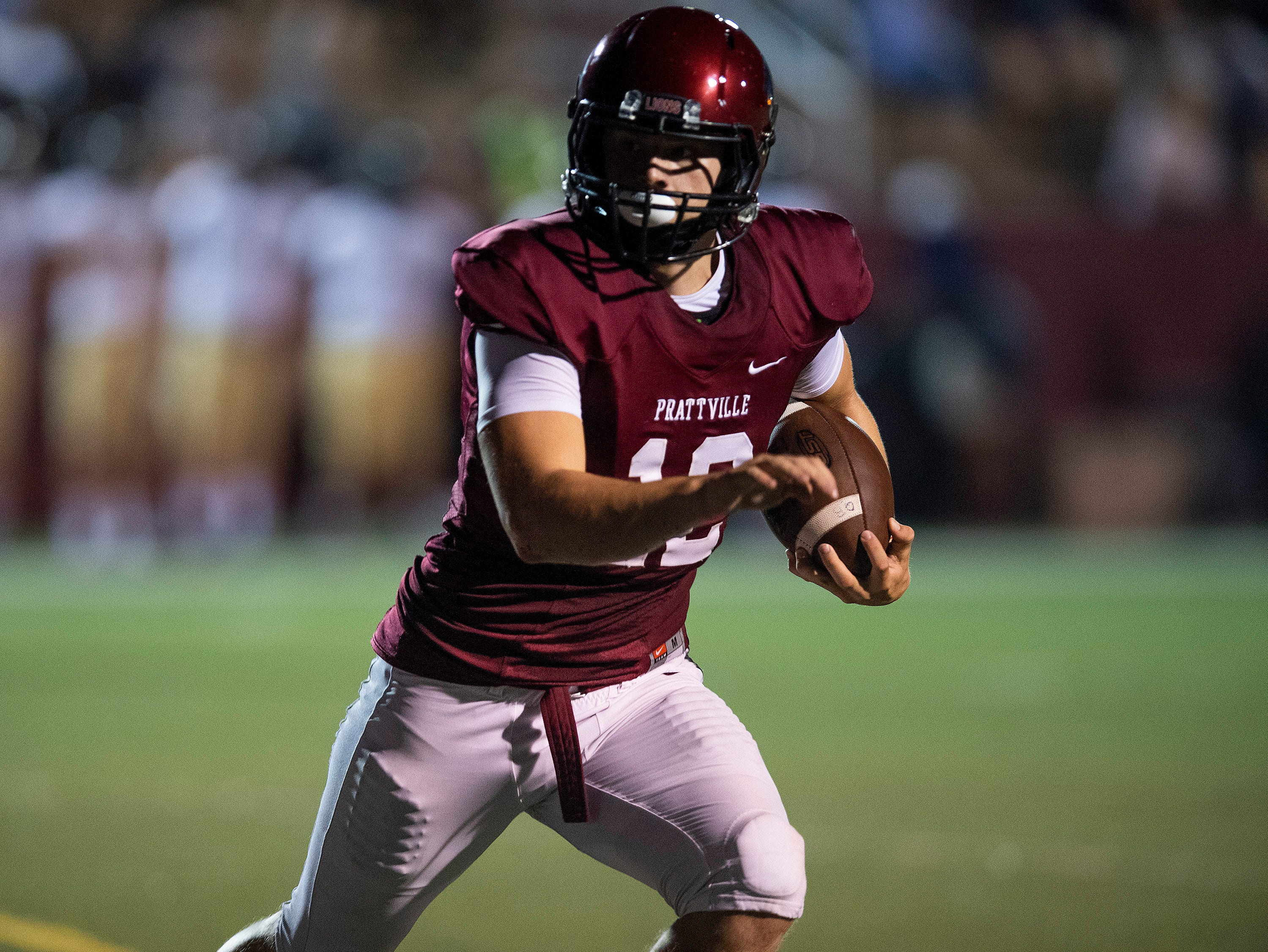 Prattville's Kyle Kramer. Carries for a touchdown against Foley at Stanley-Jensen Stadium in Prattville, Ala., on Friday August 24, 2018.