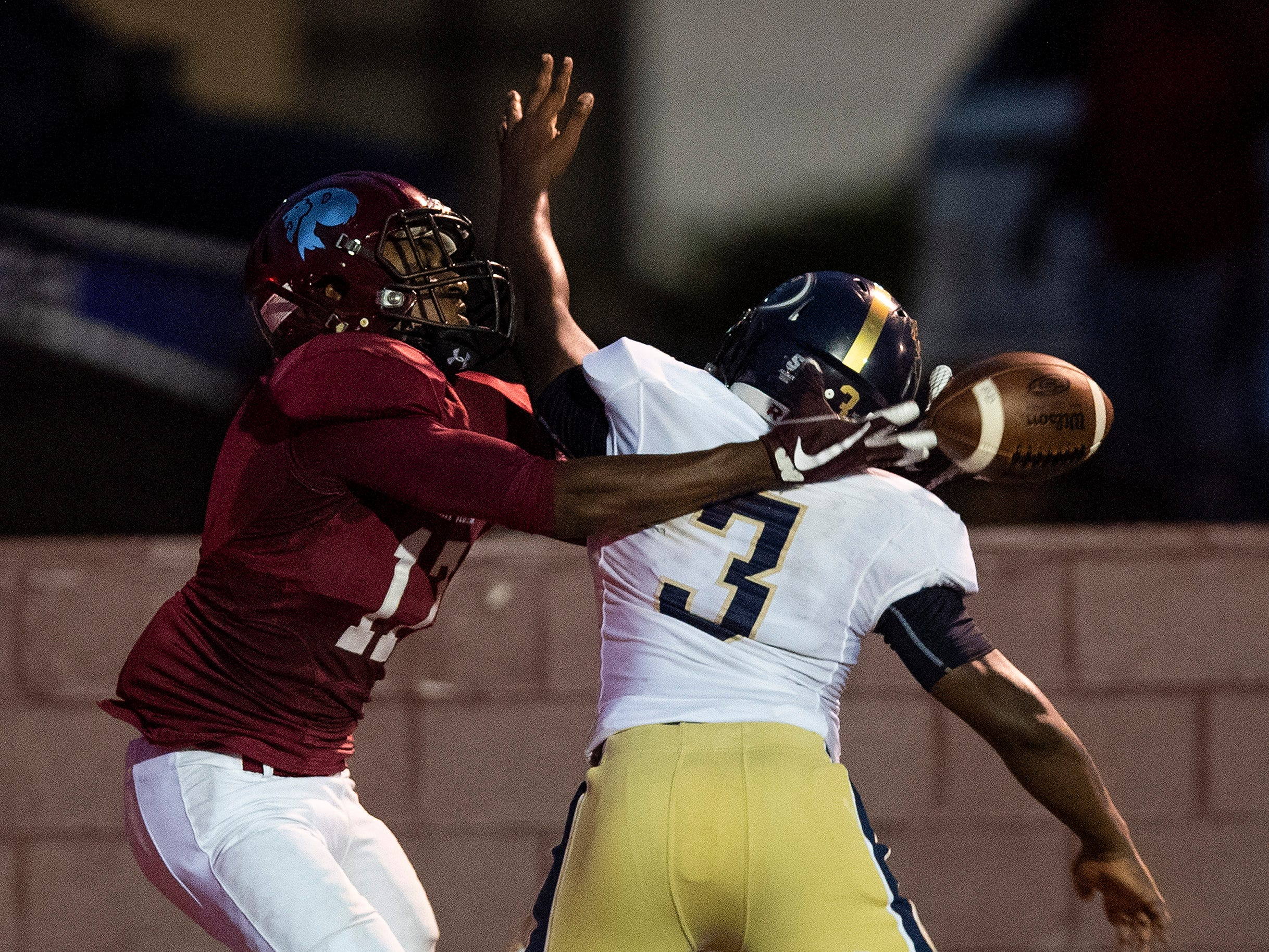 Foley's Trent Nettles (3) breaks up a pass in the endzone intended for Prattville's Jalen McCary at Stanley-Jensen Stadium in Prattville, Ala., on Friday August 24, 2018.