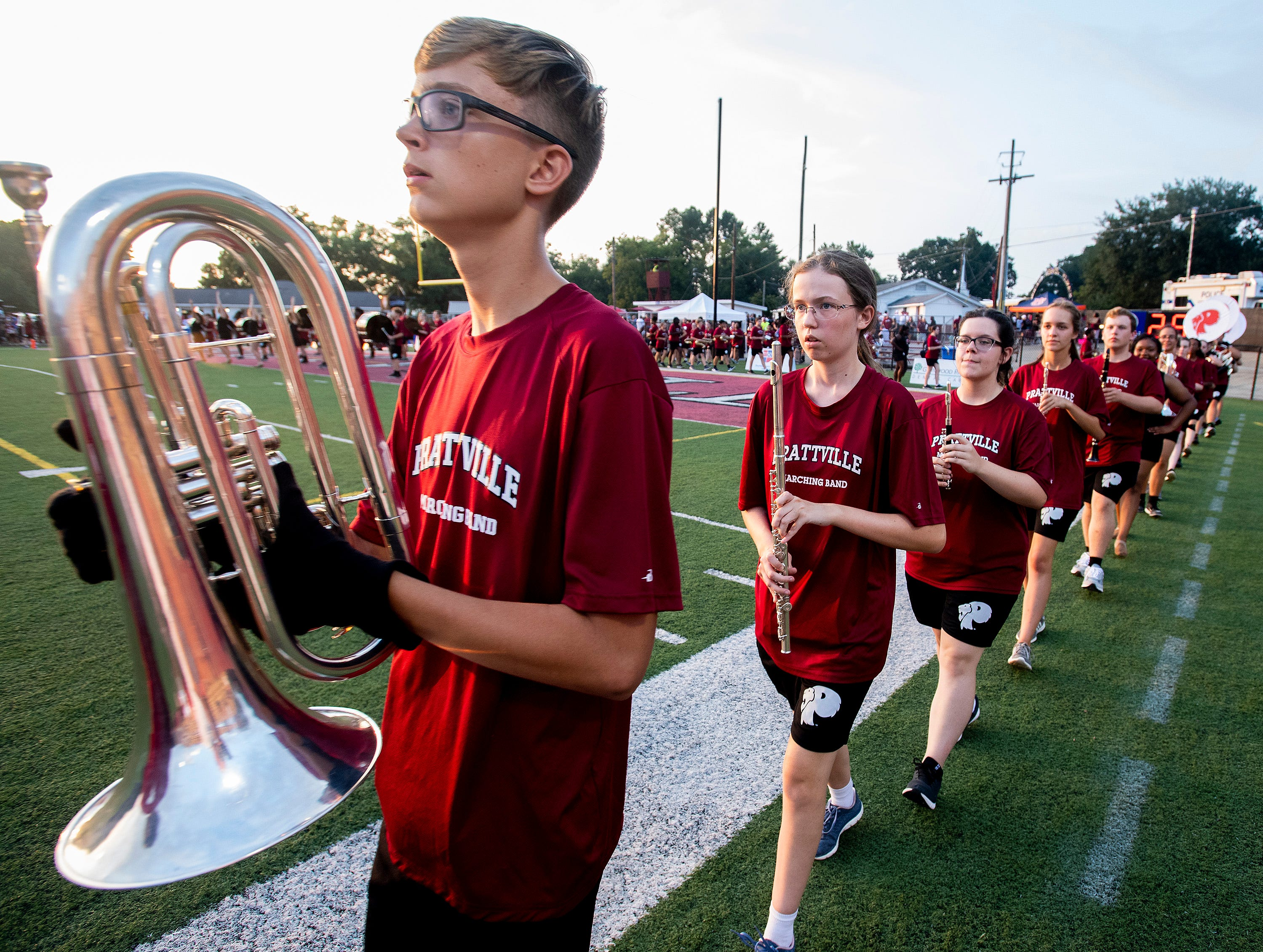 The Prattville band takes the field before the Foley game at Stanley-Jensen Stadium in Prattville, Ala., on Friday August 24, 2018.