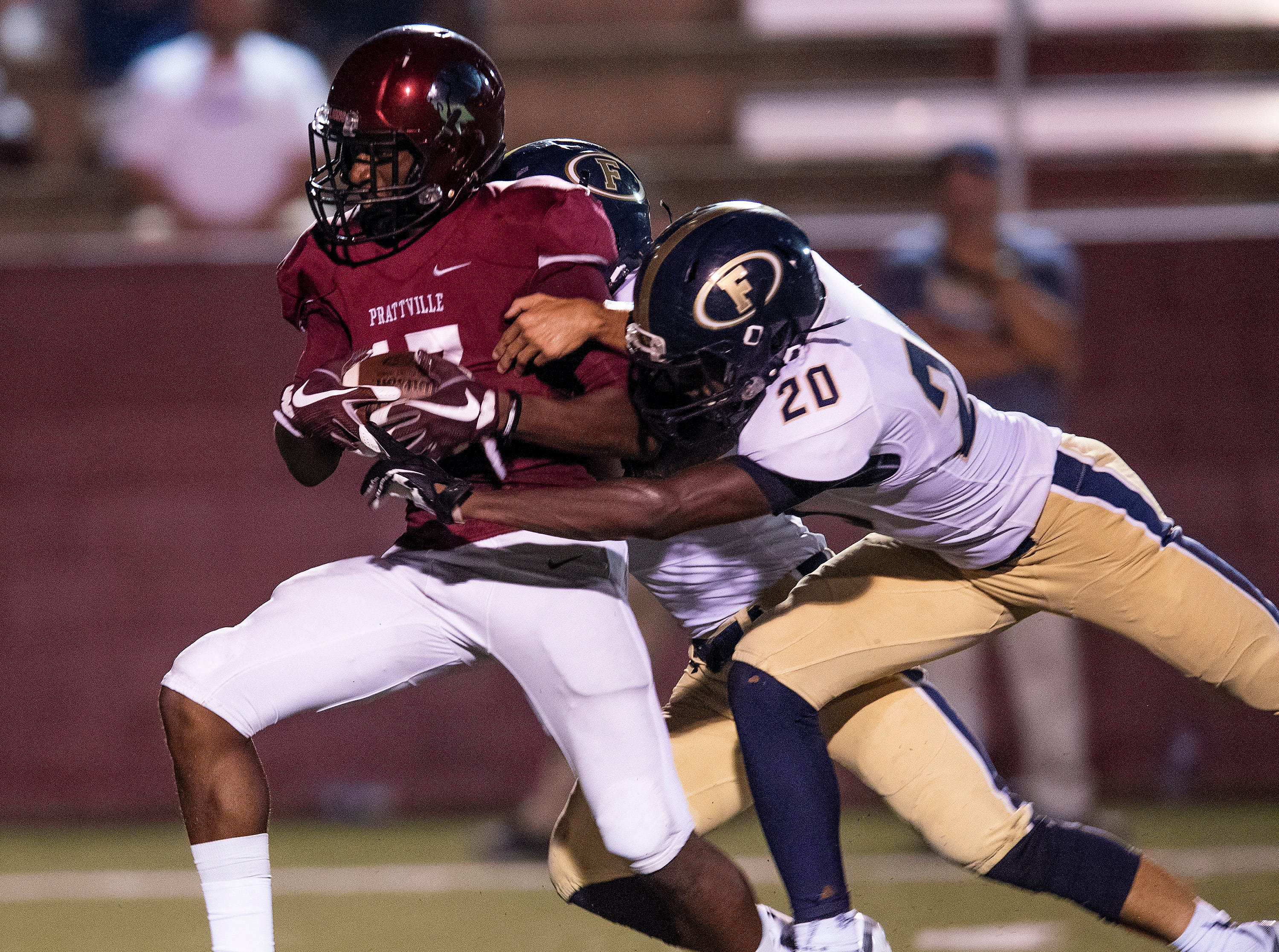 Prattville's Jalen McCary catches a log pass against Foley at Stanley-Jensen Stadium in Prattville, Ala., on Friday August 24, 2018.