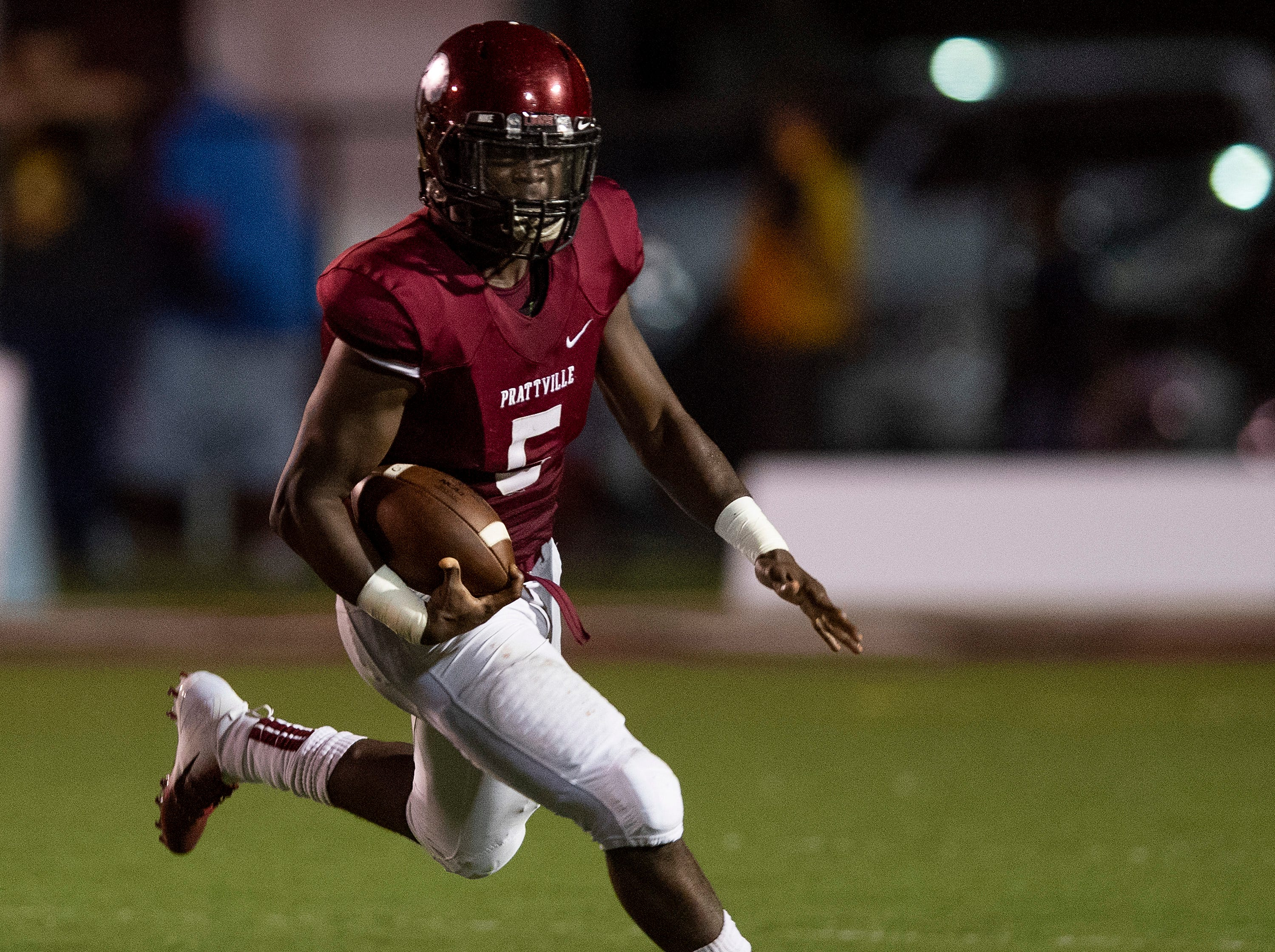 Prattville quarterback Traair Edwards carries against Foley at Stanley-Jensen Stadium in Prattville, Ala., on Friday August 24, 2018.