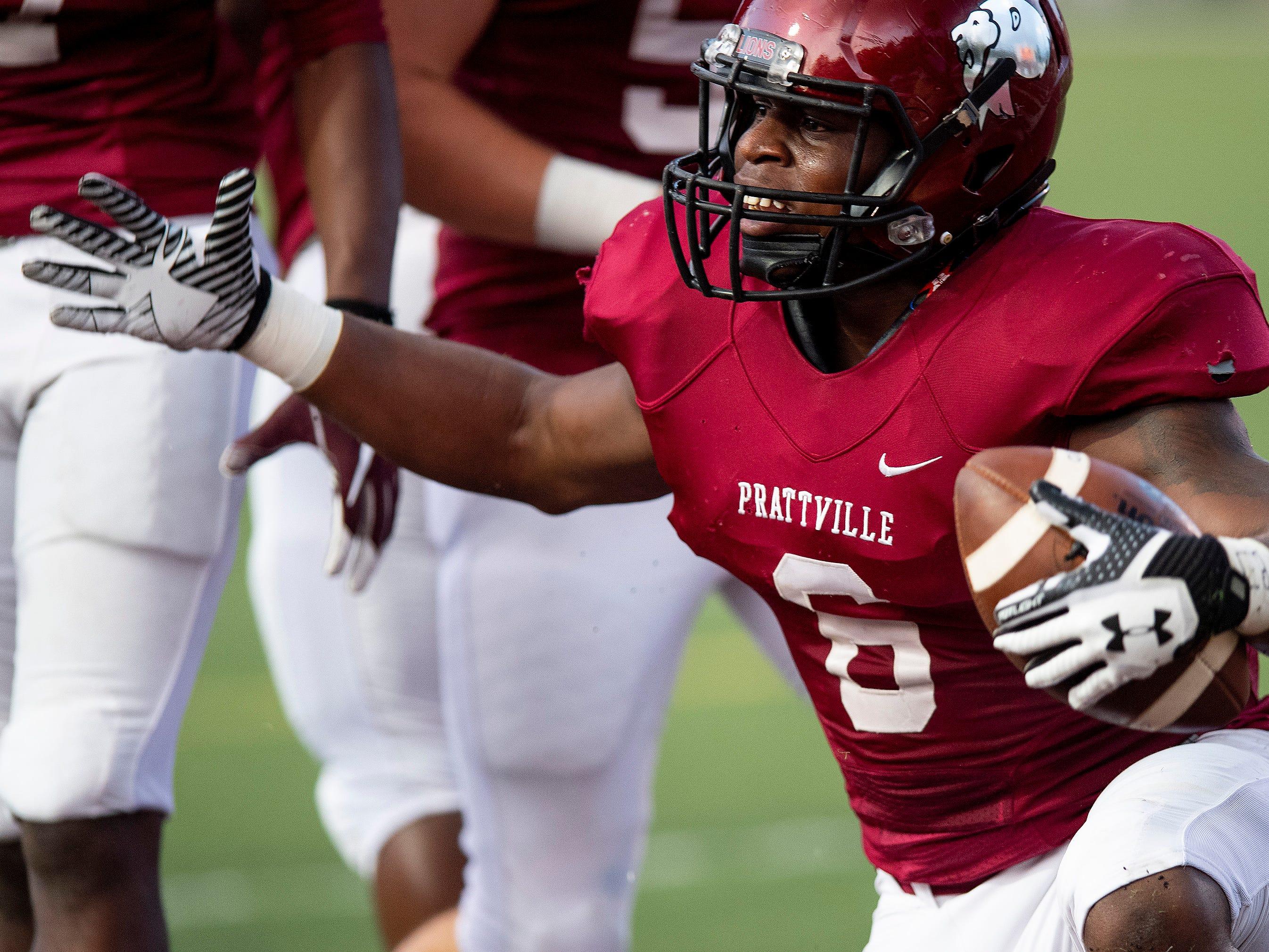 Prattville's Jaden Kidd (6) celebrates a touchdown against Foley at Stanley-Jensen Stadium in Prattville, Ala., on Friday August 24, 2018.