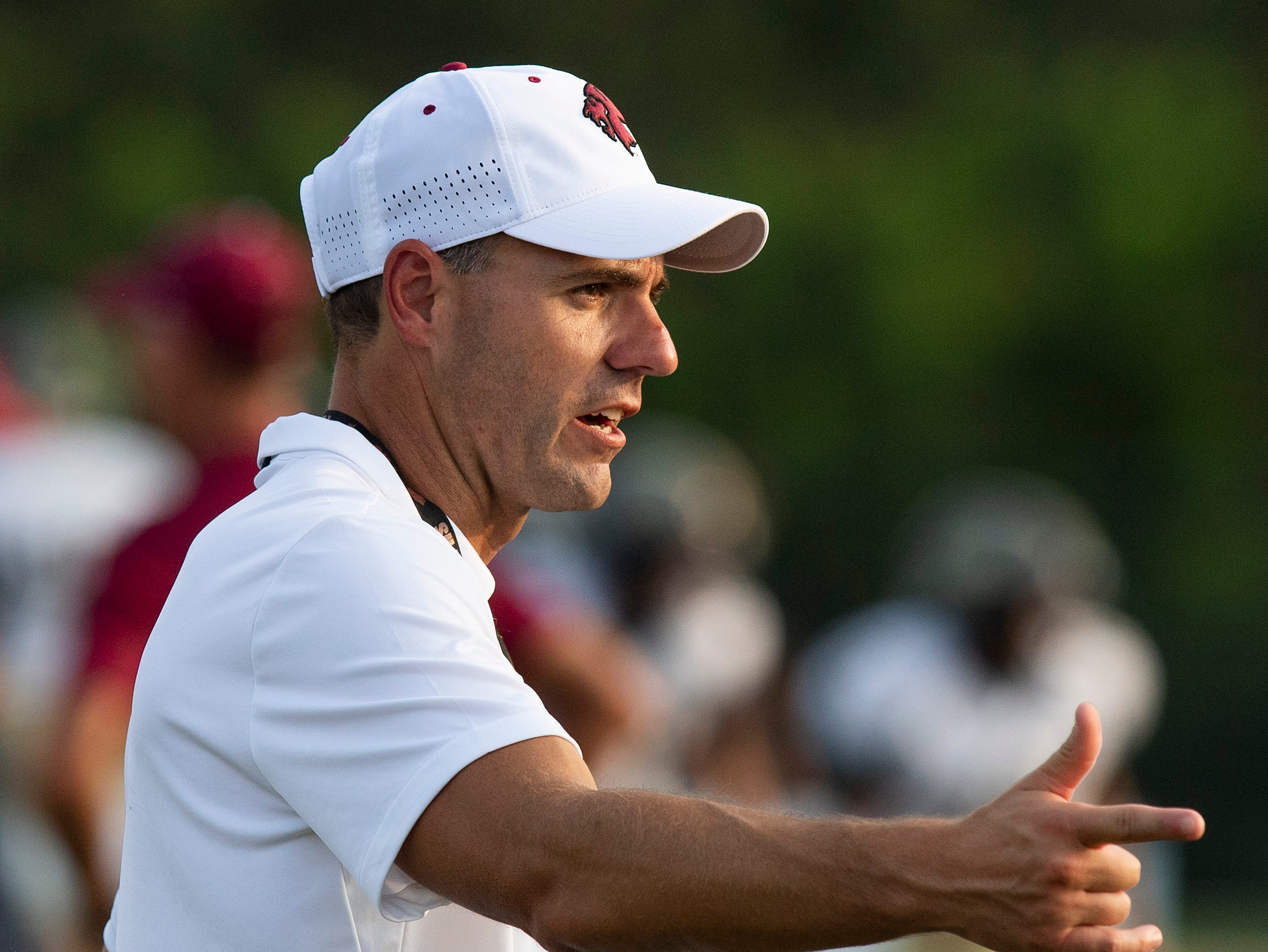 Prattville coach h Caleb Ross before the Foley game at Stanley-Jensen Stadium in Prattville, Ala., on Friday August 24, 2018.