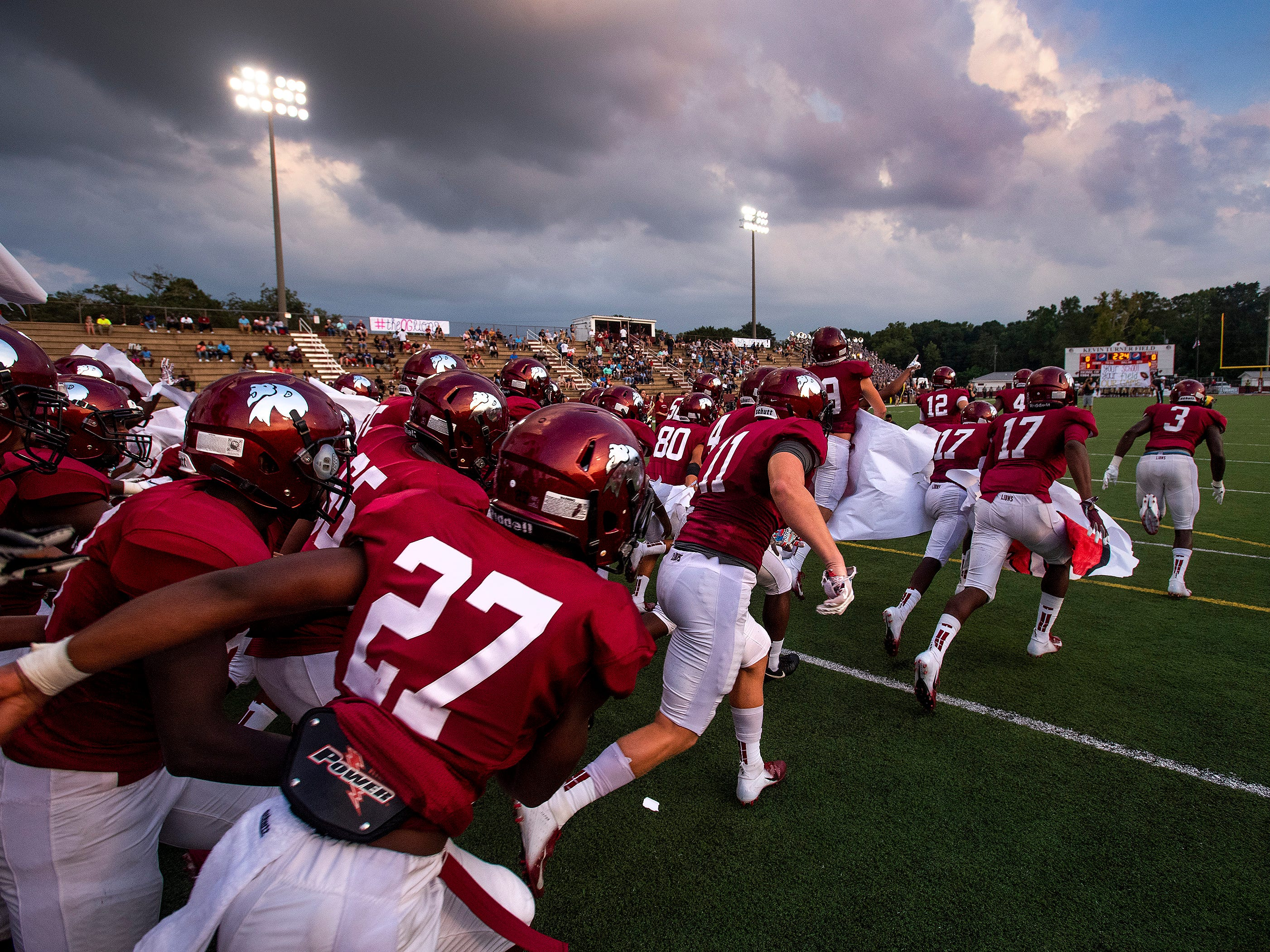 Prattville take the field for the Foley game at Stanley-Jensen Stadium in Prattville, Ala., on Friday August 24, 2018.