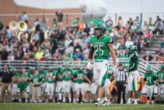 Yorktown's Austin Hill during a game against Muncie Central this past season at Yorktown High School. Yorktown won the game 26-20.