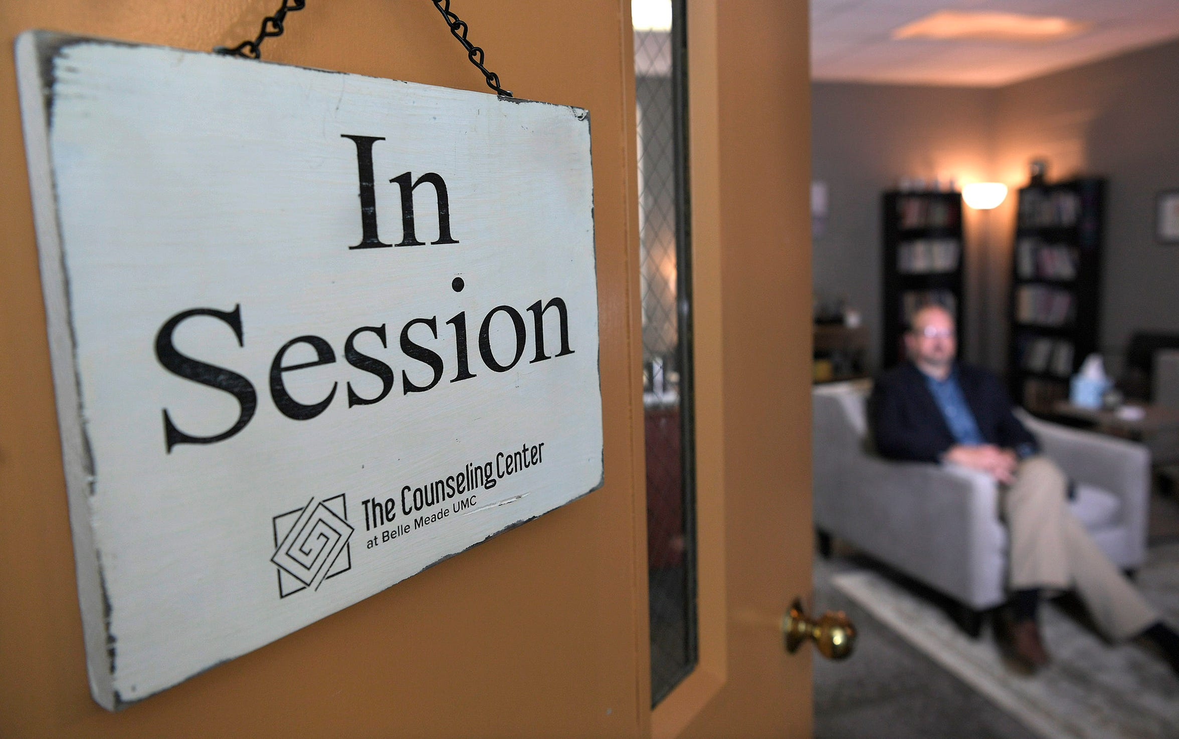 Chris O'Rear, licensed clinical pastoral therapist, sit inside his counseling center at Belle Meade United Methodist Church in Nashville on Thursday, Aug. 23, 2018.