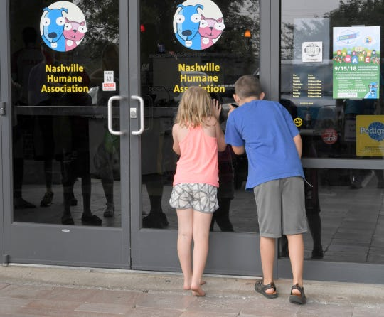 Noelle Matthews, 6, and her brother, Evan, 9, wait in line to get inside Nashville Humane Association to adopt a dog during Mars Petcare's Adoption Weekend on Saturday, August 25, 2018. Middle Tennessee's three largest shelters celebrated a 10-year partnership with Mars Petcare, which paid for adoption fees during this weekend's anniversary.