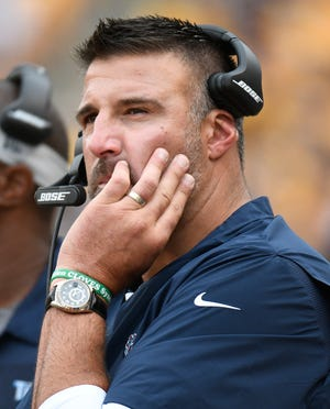 Tennessee Titans head coach Mike Vrabel works the sideline in the first quarter of an NFL football game against the Pittsburgh Steelers, Saturday, Aug. 25, 2018, in Pittsburgh. (AP Photo/Don Wright)