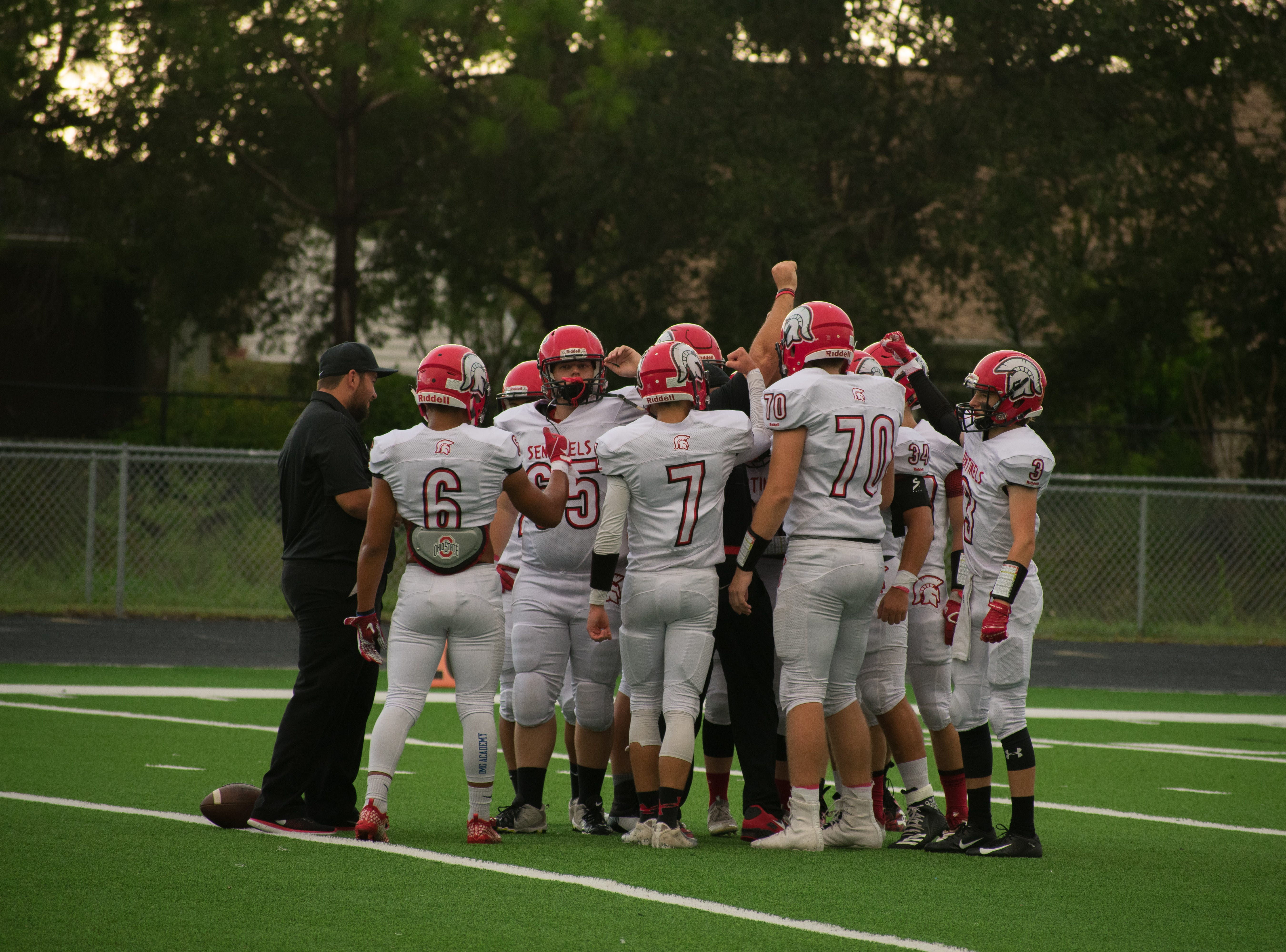 The First Baptist Academy football team defeated Evangelical Christian, 54-14, on Friday, Aug. 24, 2018 after a lengthy lightning delay.