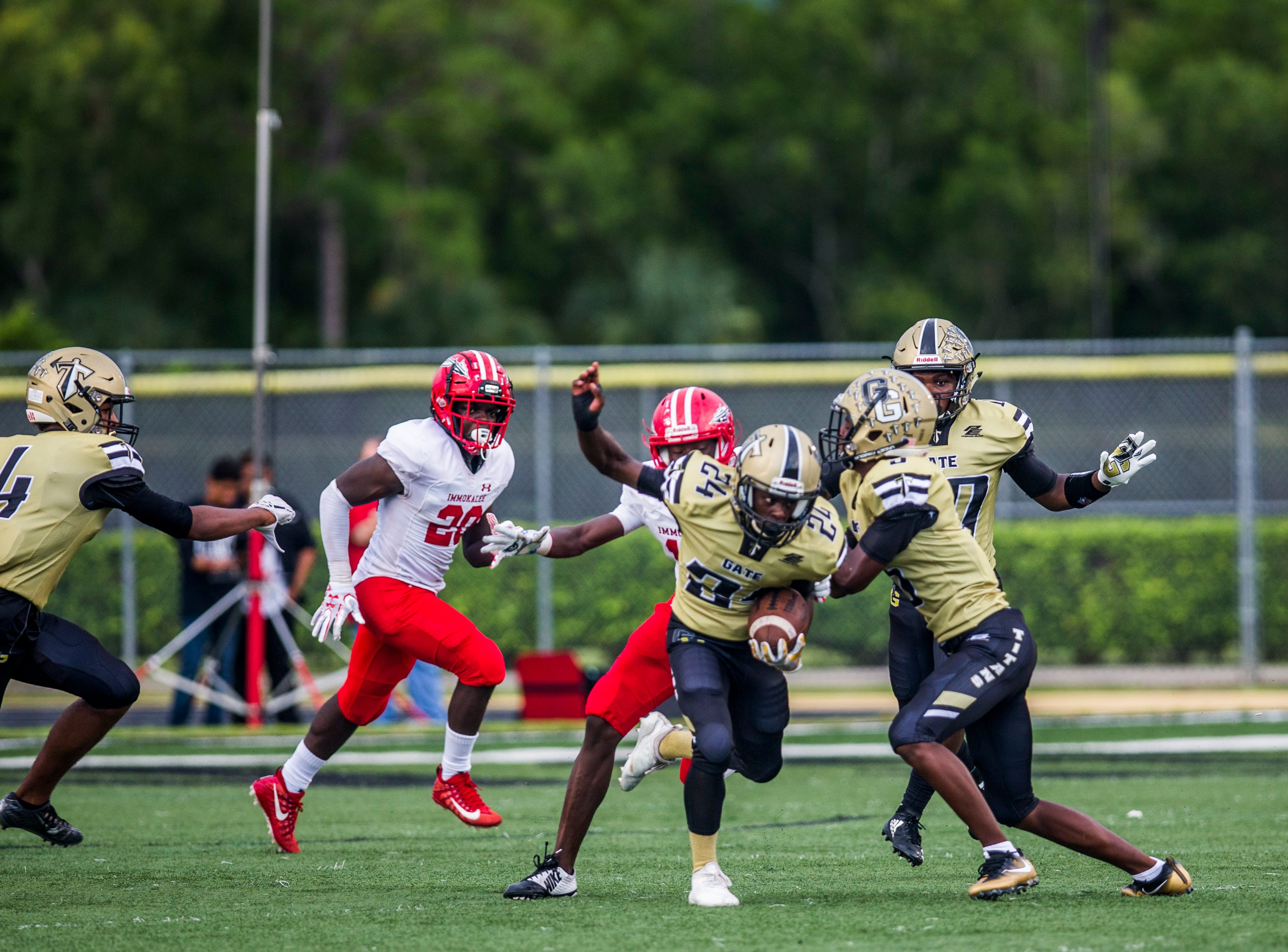 Golden Gate during the game against Immokalee at Golden Gate High School on Friday, Aug. 24, 2018.