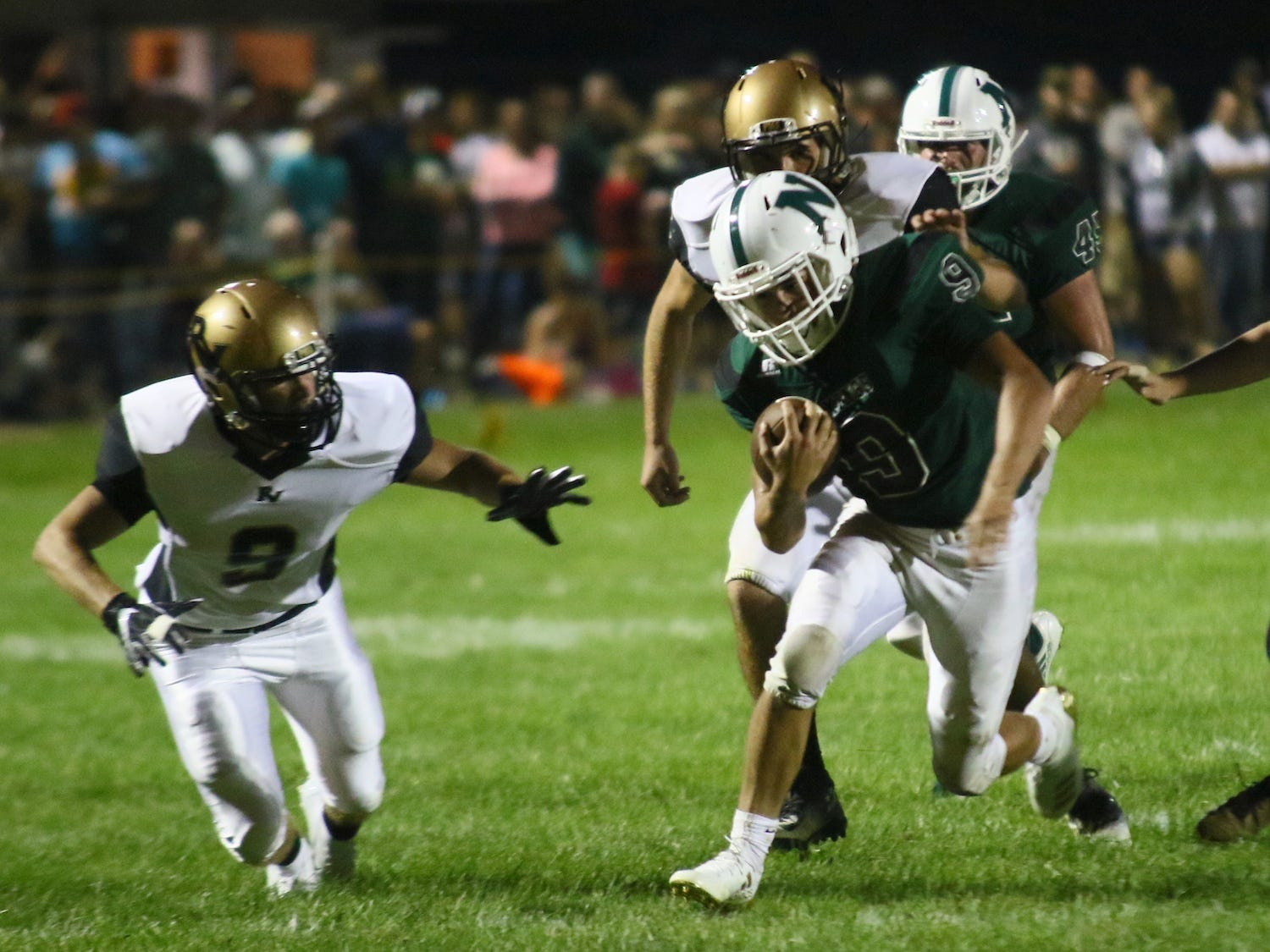 Northridge junior Dylon Parman scores the first touchdown of the 2018 season for the Vikings. Northridge lost to River View 30-13 on Friday, Aug. 24, 2018 at home.