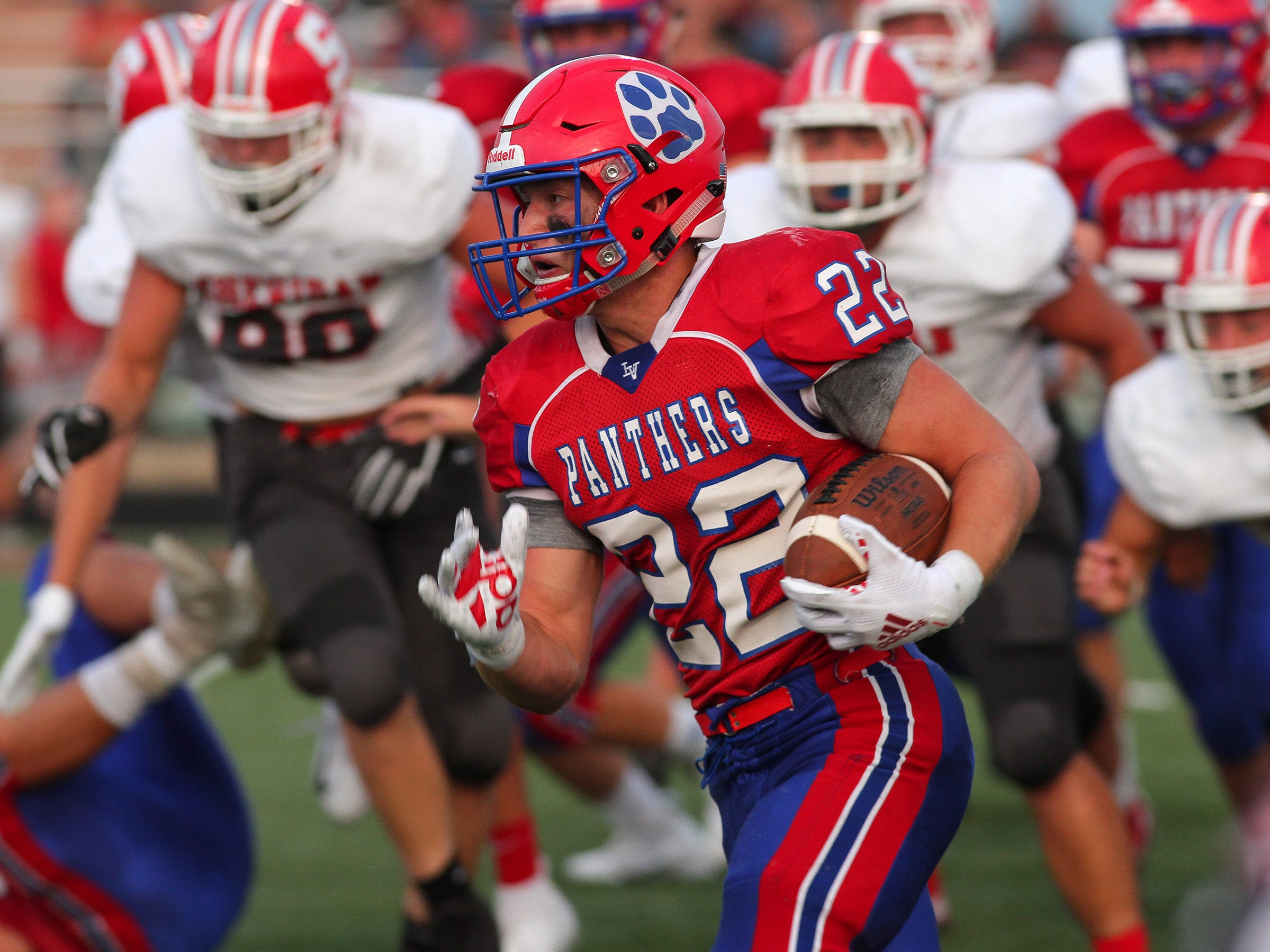 Licking Valley senior Connor McLaughlin carries the ball Friday during the Panthers' 36-21 loss to the Sheridan Generals.