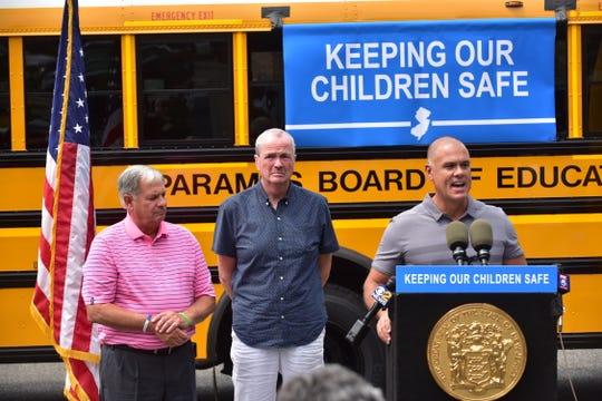 Bergen County Executive Jim Tedesco. , NJ Governor Phil Murphy and Paramus Mayor Rich LaBarbiera at School Bus Safety bill signing in Paramus, NJ.