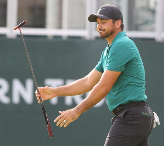 A frustrated Jason Day after missing a putt on 18 during the third round of the PGA Northern Trust at the Ridgewood Country Club in Paramus, NJ.
