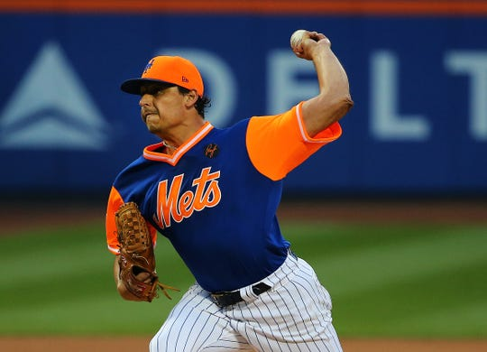 New York Mets starting pitcher Jason Vargas (40) pitches against the Washington Nationals during the first inning at Citi Field.