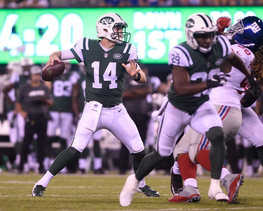 Giants vs. Jets preseason game at MetLife Stadium in East Rutherford on Friday, August 24, 2018. Jets QB Sam Darnold (14) looks to pass in the second quarter.