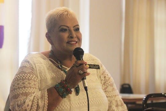 Trish Ruiz, New Mexico Public Education Commissioner, serves as keynote speaker during the American Association of University Women's brunch even to celebrate women's suffrage, Aug. 25, 2018 at Riverside Country Club.