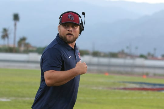 08/24/18 Taya Gray, Special to The Desert SunLa Quinta's head coach Patrick Rivenes during the first half of the game against JW North in La Quinta on Friday, August 24, 2018.