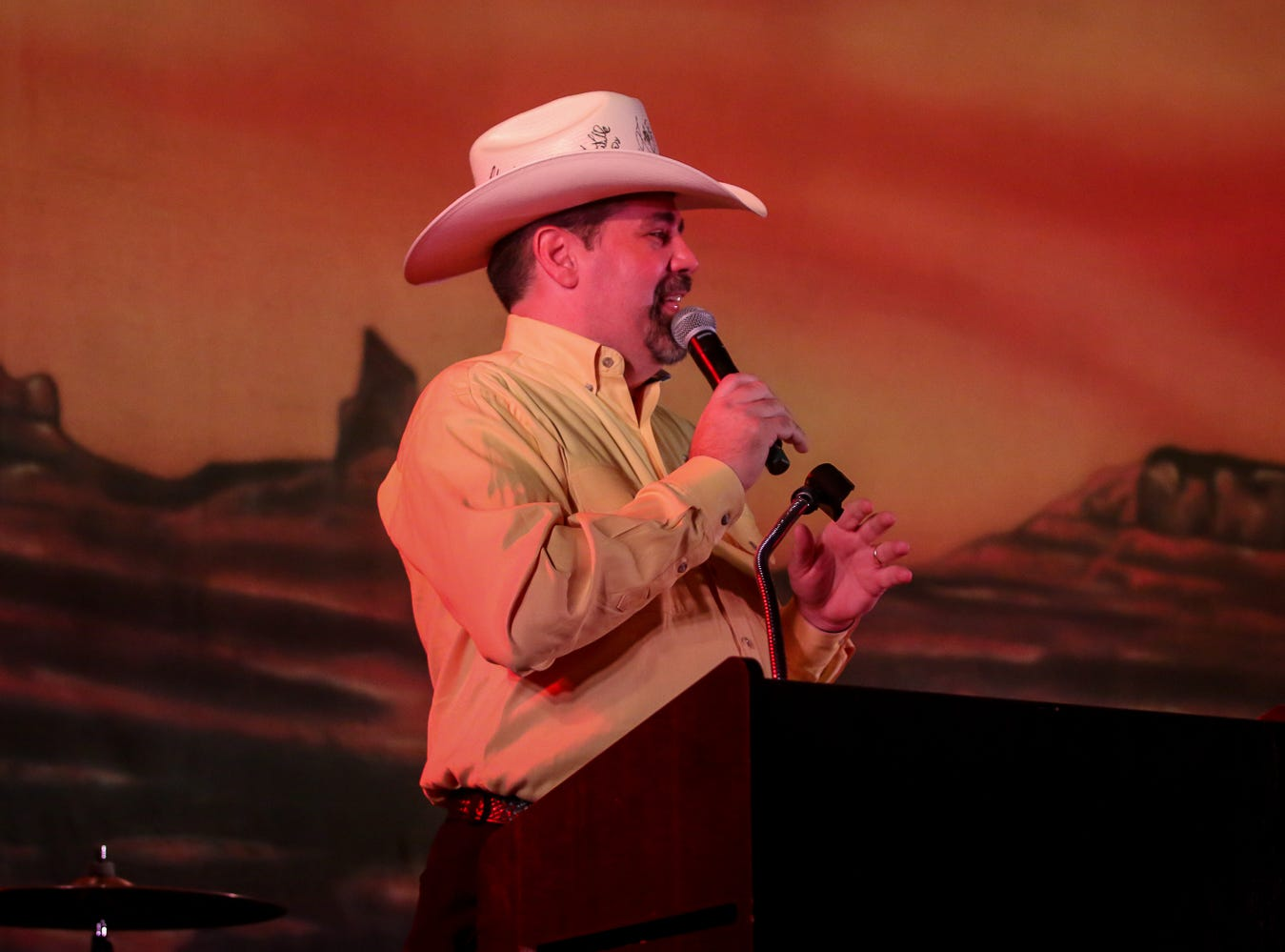 Cat Country 98.7's Brent Lane emcees the American Cancer Society's annual Pensacola Cattle Barons' Ball fundraiser at the Pensacola Bay Center on Friday, August 24, 2018.