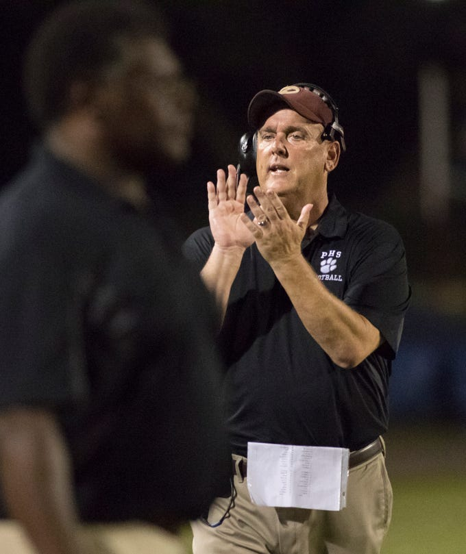 Tigers head coach Mike Mincy during the PHS vs Pine Forest football game at Pine Forest High School in Pensacola on Friday, August 24, 2018.