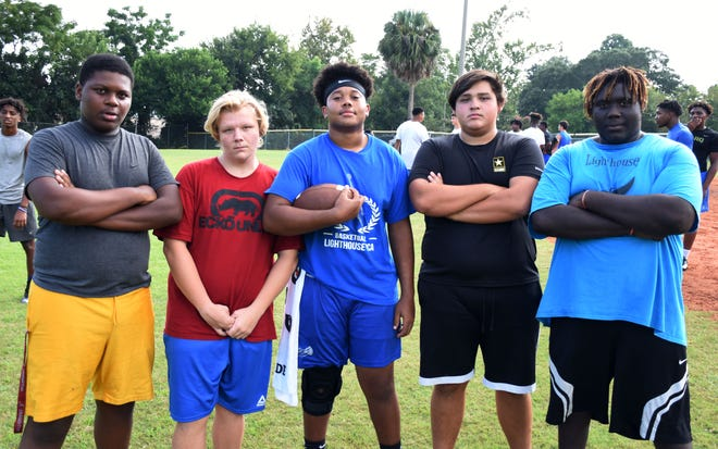From left: Trace Freeny, Kelton Reboltz, Nick Mosley, Juan Majallanes and Devin Wright make up the offensive line for the Lighthouse Private Christian Academy.