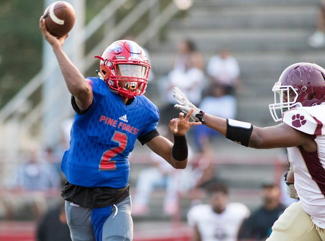 Quarterback Ladarius Clardy (2) passes during the PHS vs Pine Forest football game at Pine Forest High School in Pensacola on Friday, August 24, 2018.