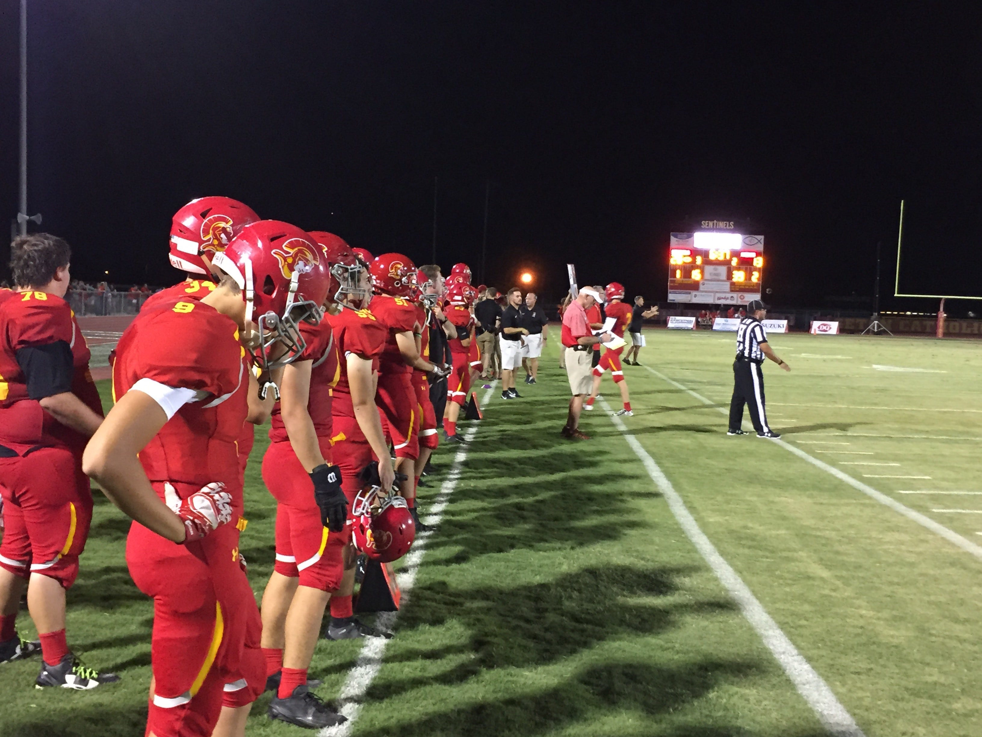 The Seton Catholic sidelines during the Sentinels 41-20 win over St. Mary's.