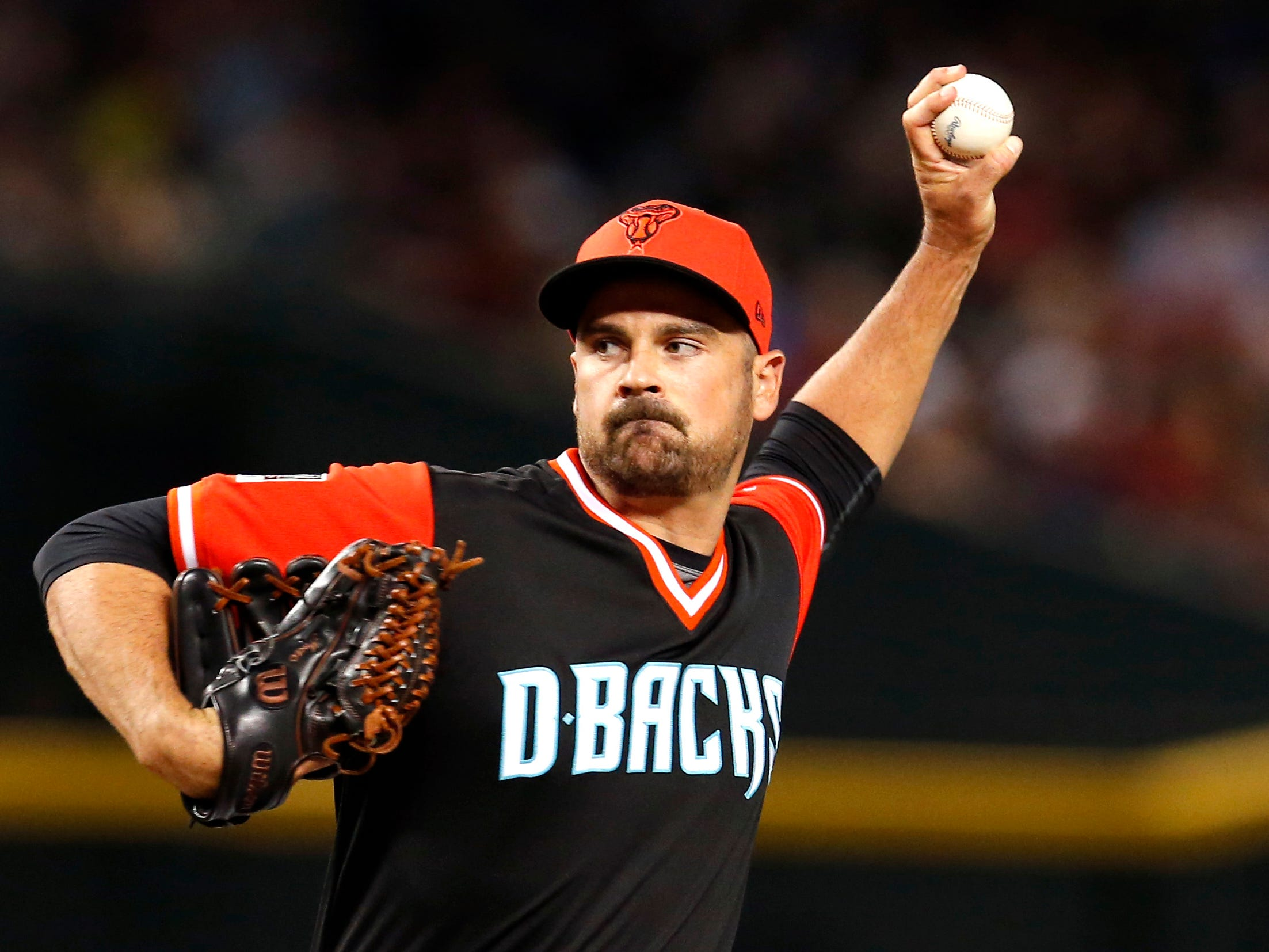 Arizona Diamondbacks relief pitcher T.J. McFarland (30) in the first inning during a baseball game against the Seattle Mariners, Friday, Aug. 24, 2018, in Phoenix.