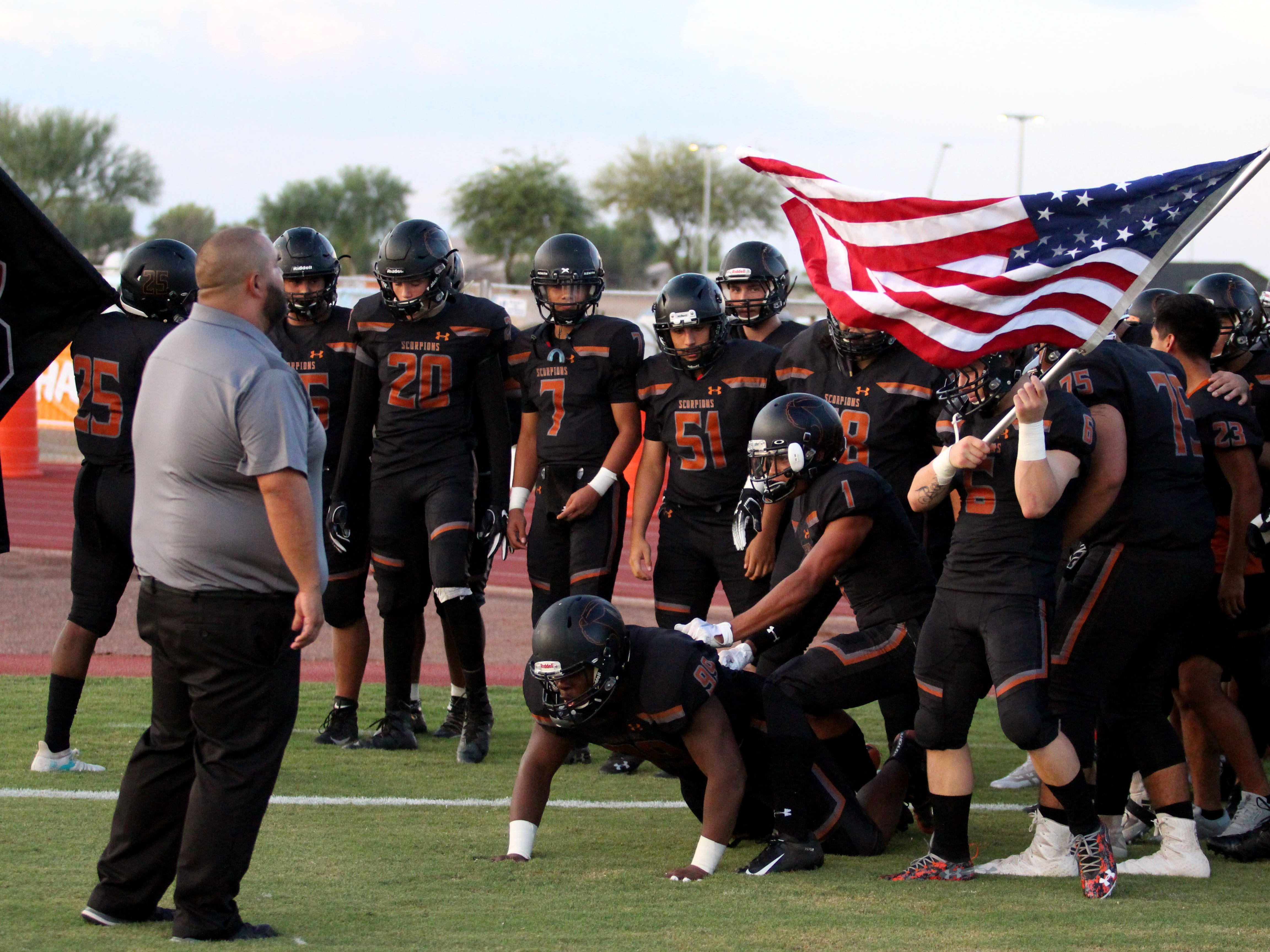 Desert Edge gets ready to run onto the field before game against Moon Valley, Goodyear, Ariz. August 24, 2018.