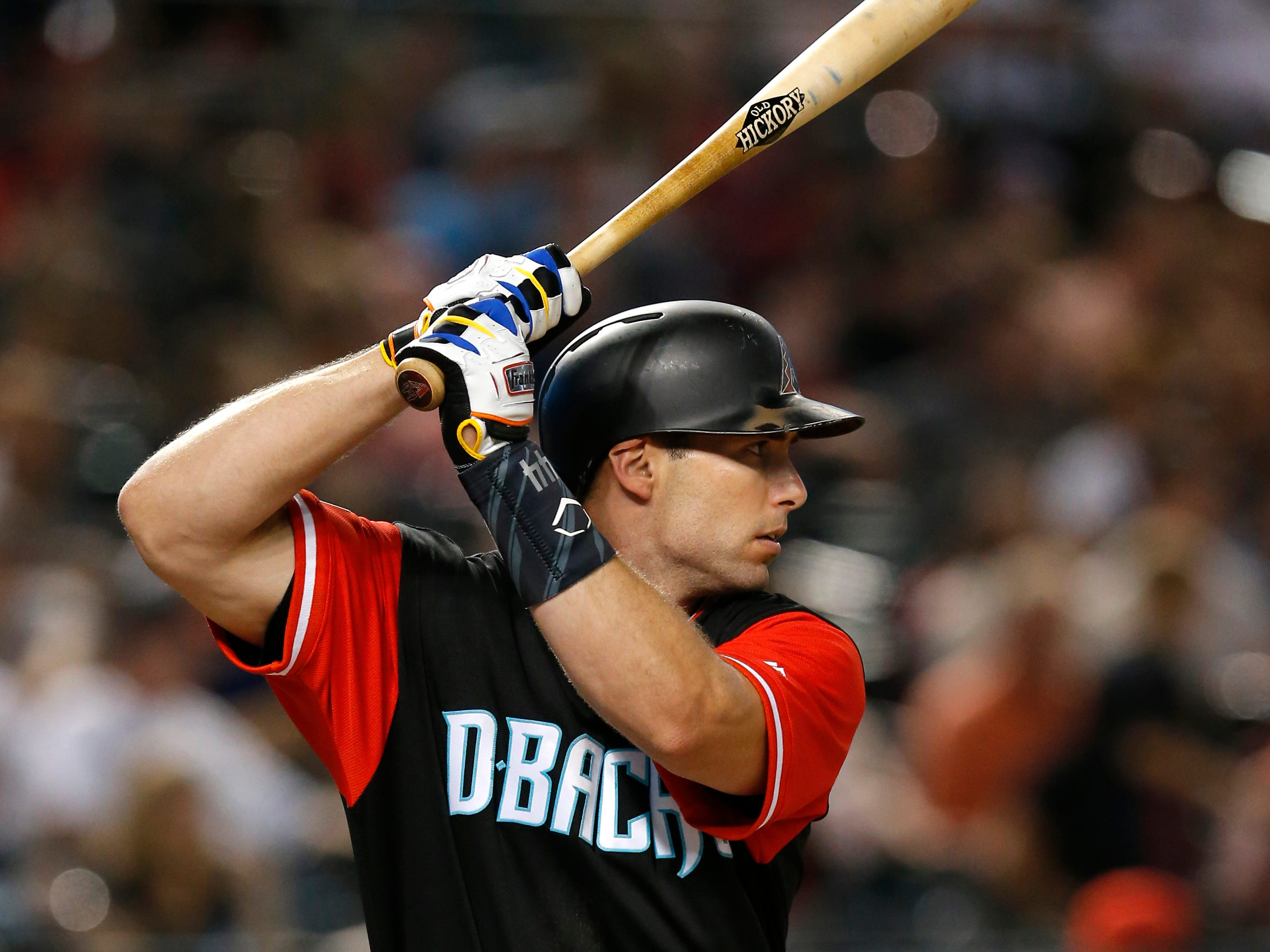 Arizona Diamondbacks first baseman Paul Goldschmidt (44) in the first inning during a baseball game against the Seattle Mariners, Friday, Aug. 24, 2018, in Phoenix.