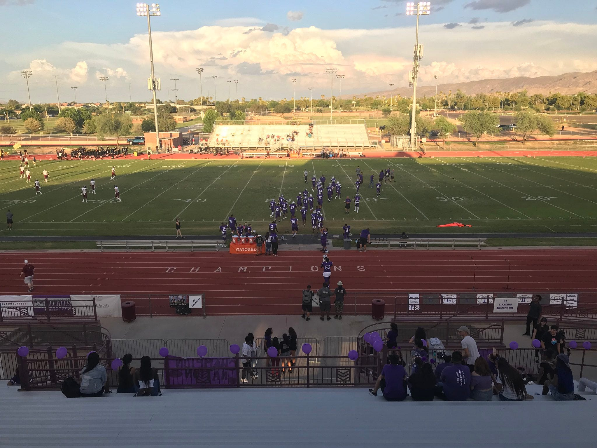 Laveen Cesar Chavez warms up before its home game vs, Mesa Red Mountain.