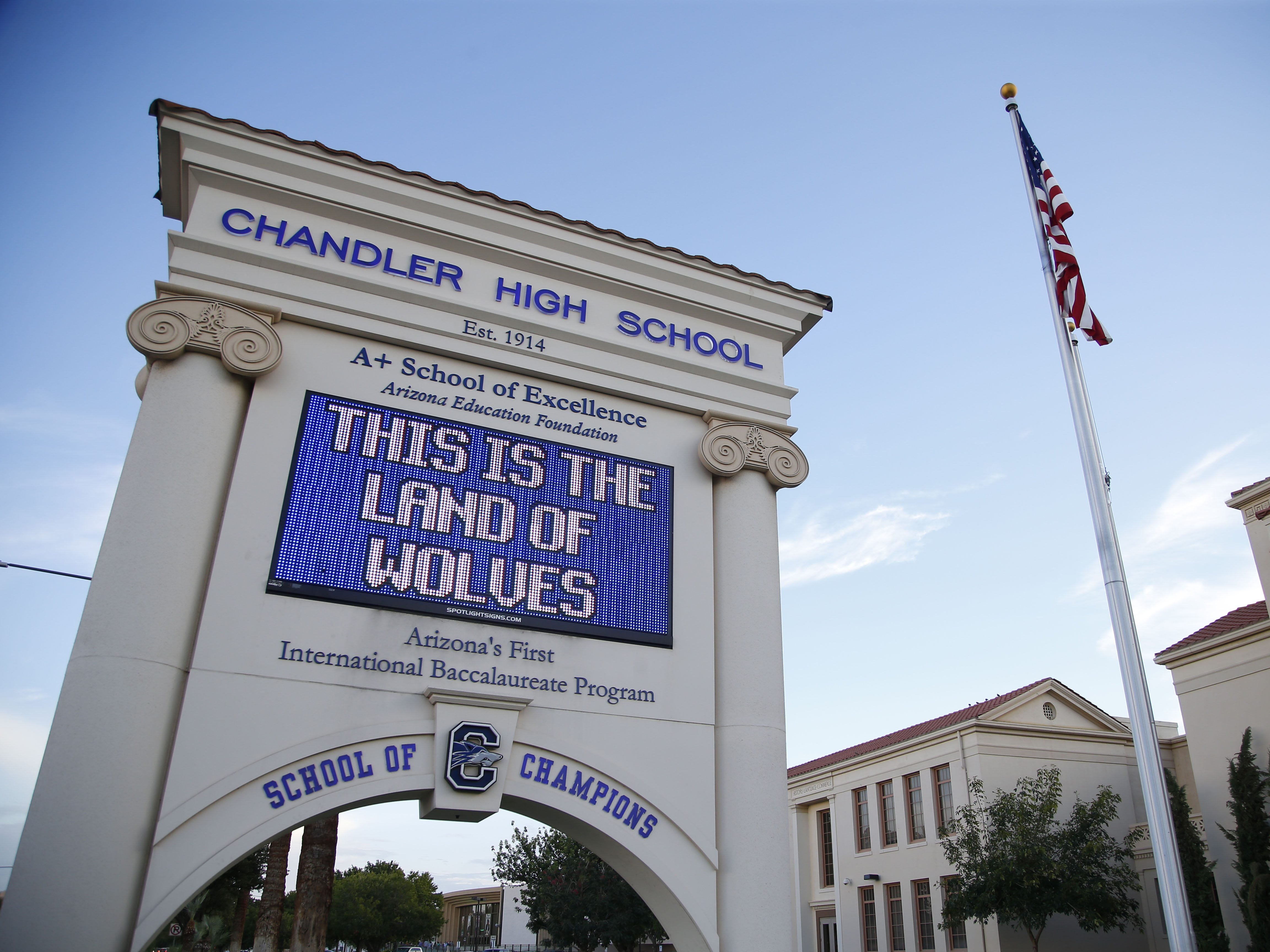 Chandler High school's marquee on August 24, 2018. #azhsfb