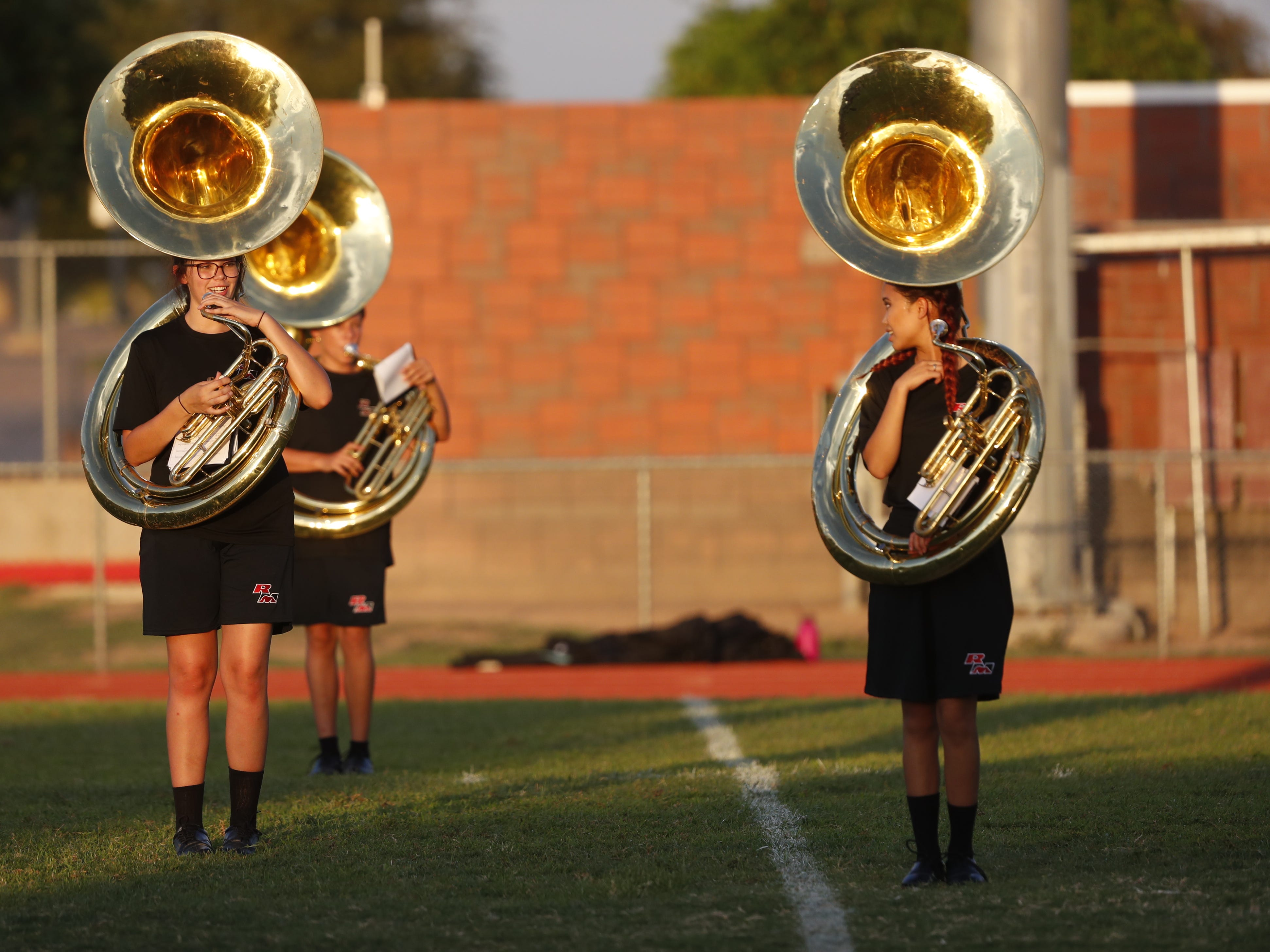 Red Mountain's band plays before a game at Cesar Chavez High School in Phoenix, Ariz. on Aug. 23, 2018.