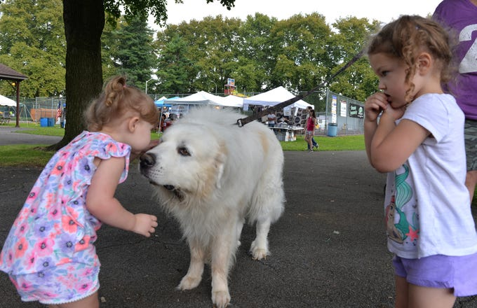 Two-year old Ariebella Sutton of Lebanon stops to share a kiss with a friendly Great Pyrenees at Myerstown's Weekend at the Park on Saturday, August 25, 2018 as a skeptical three-year old Juliette Lambert of Myerstown watches from the sideline. The weekend-long event held in celebration of Myerstown's Sestercentennial that includes live music, food, carnival rides, and games, continues through Sunday.
