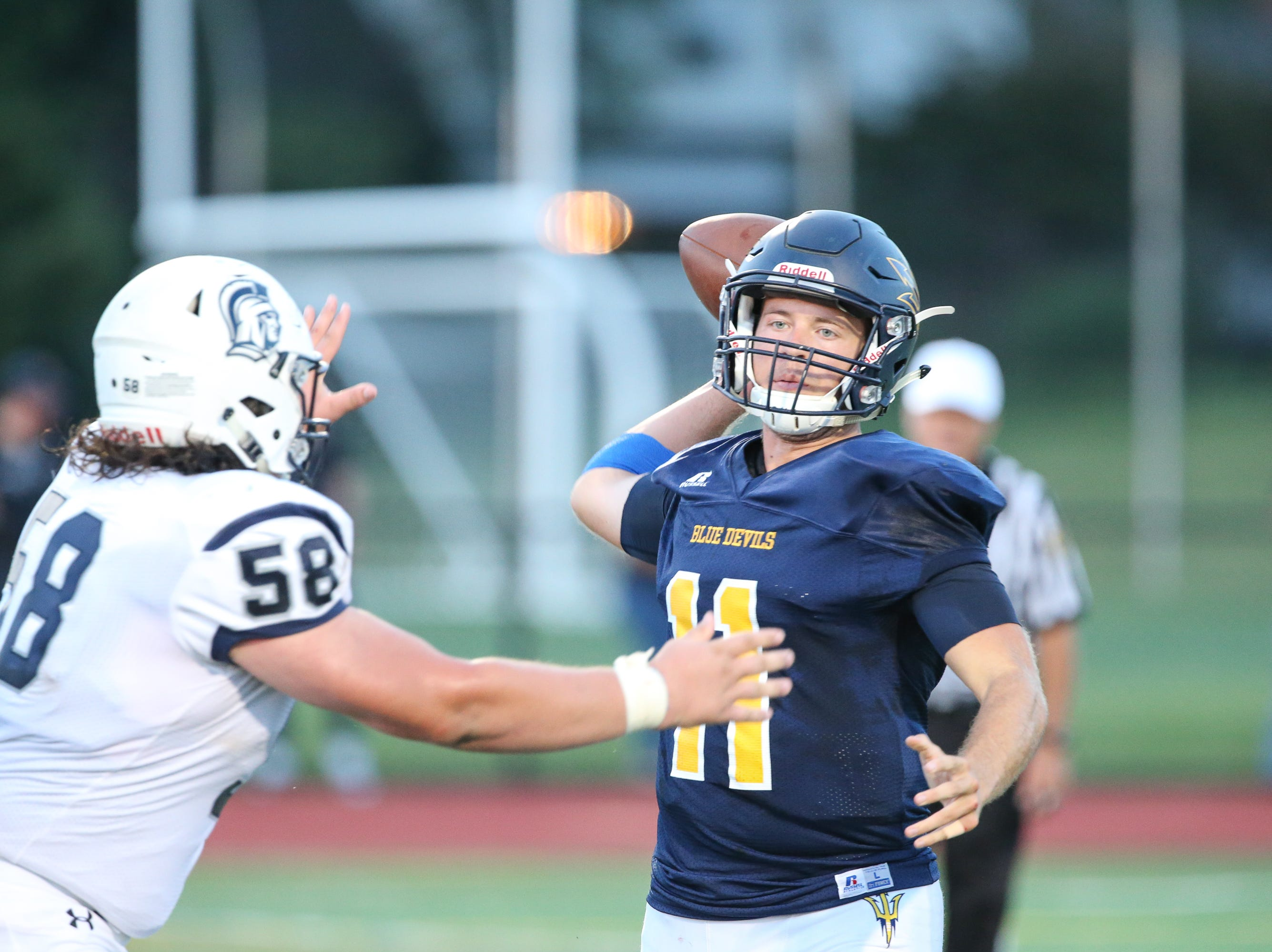 The Greencastle player gets ready to throw the ball during the season opener versus Chambersburg on Friday, Aug. 24, 2018, in Greencastle. Chambersburg won, 48-13.