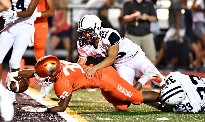 Central York vs West York during football action at Central York High School in Springettsbury Township, Friday, Aug. 24, 2018. Central York would win the game 38-14. Dawn J. Sagert photo