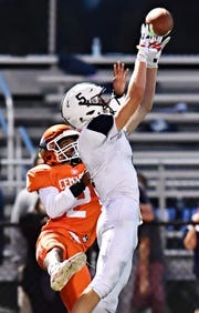 West York's Andrew LaManna catches a pass against Central York in a game earlier this season. LaManna and the Bulldogs play Gettysburg Friday in their D-II opener. Dawn J. Sagert photo