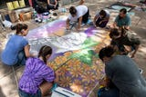 Video: Watch the sidewalks on the 100 Block of W. Market St. get transformed into murals during the 2018 Chalk Walk competition on August 25, 2018.