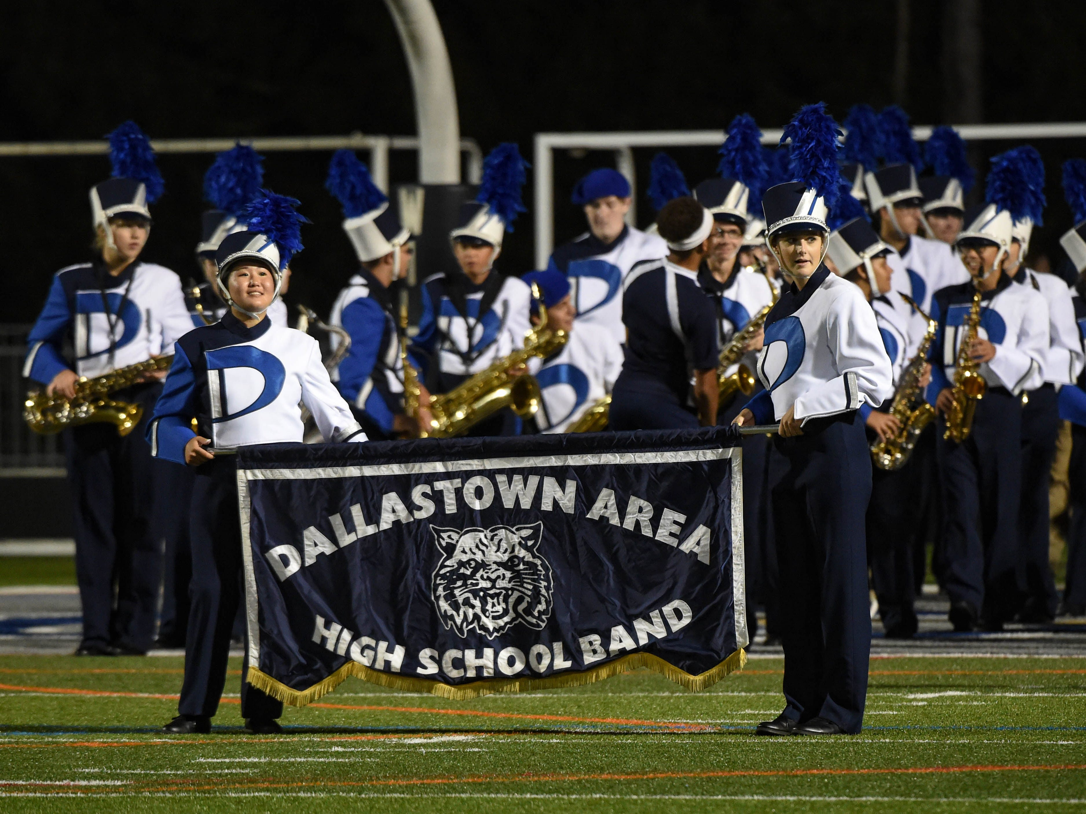 Dallastown's band prepares to take the field after the game to give spectators one last show before they drive home.